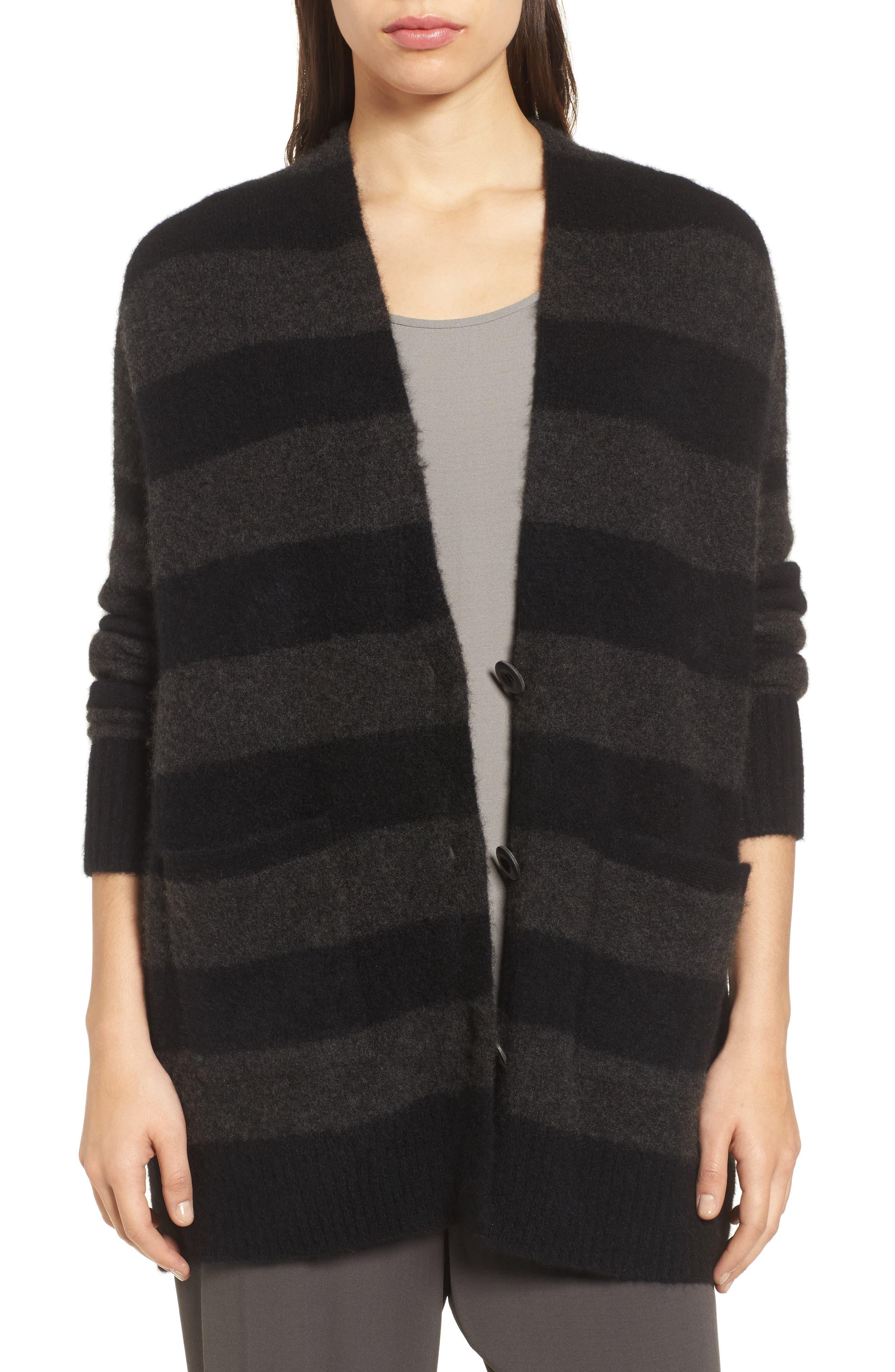 Stripe Cashmere Blend Cardigan,                         Main,                         color, 020