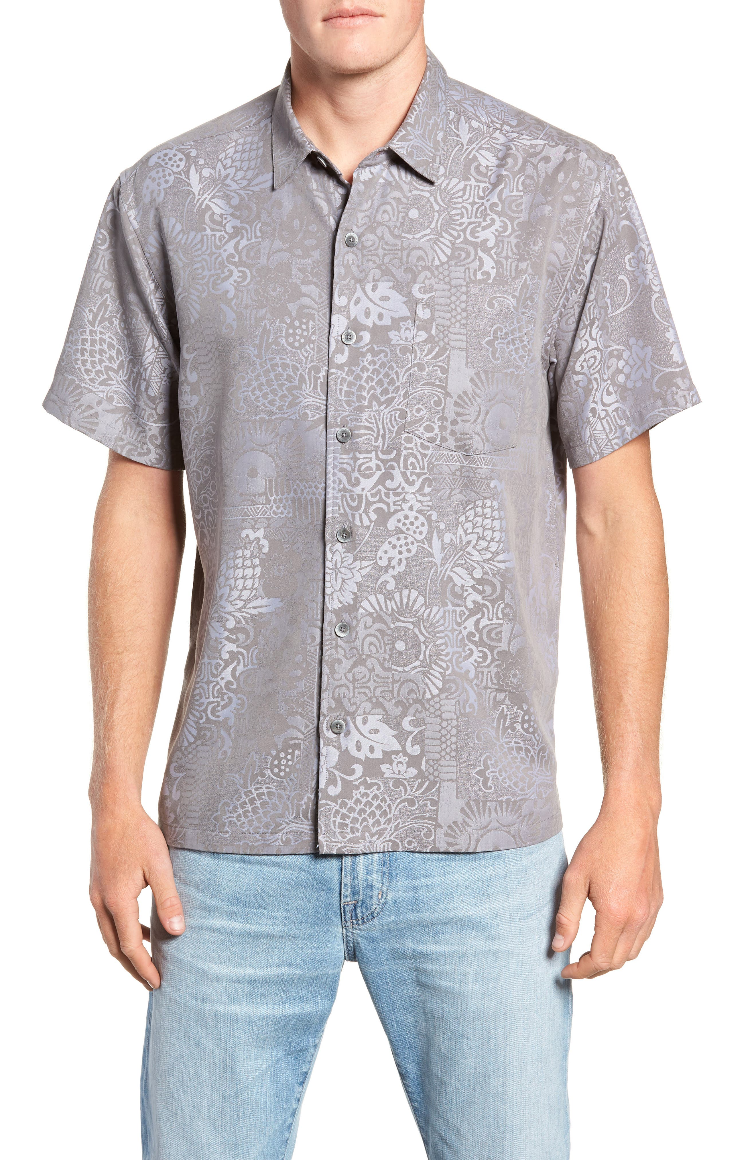 Apana Classic Fit Jacquard Sport Shirt,                         Main,                         color, CHARCOAL