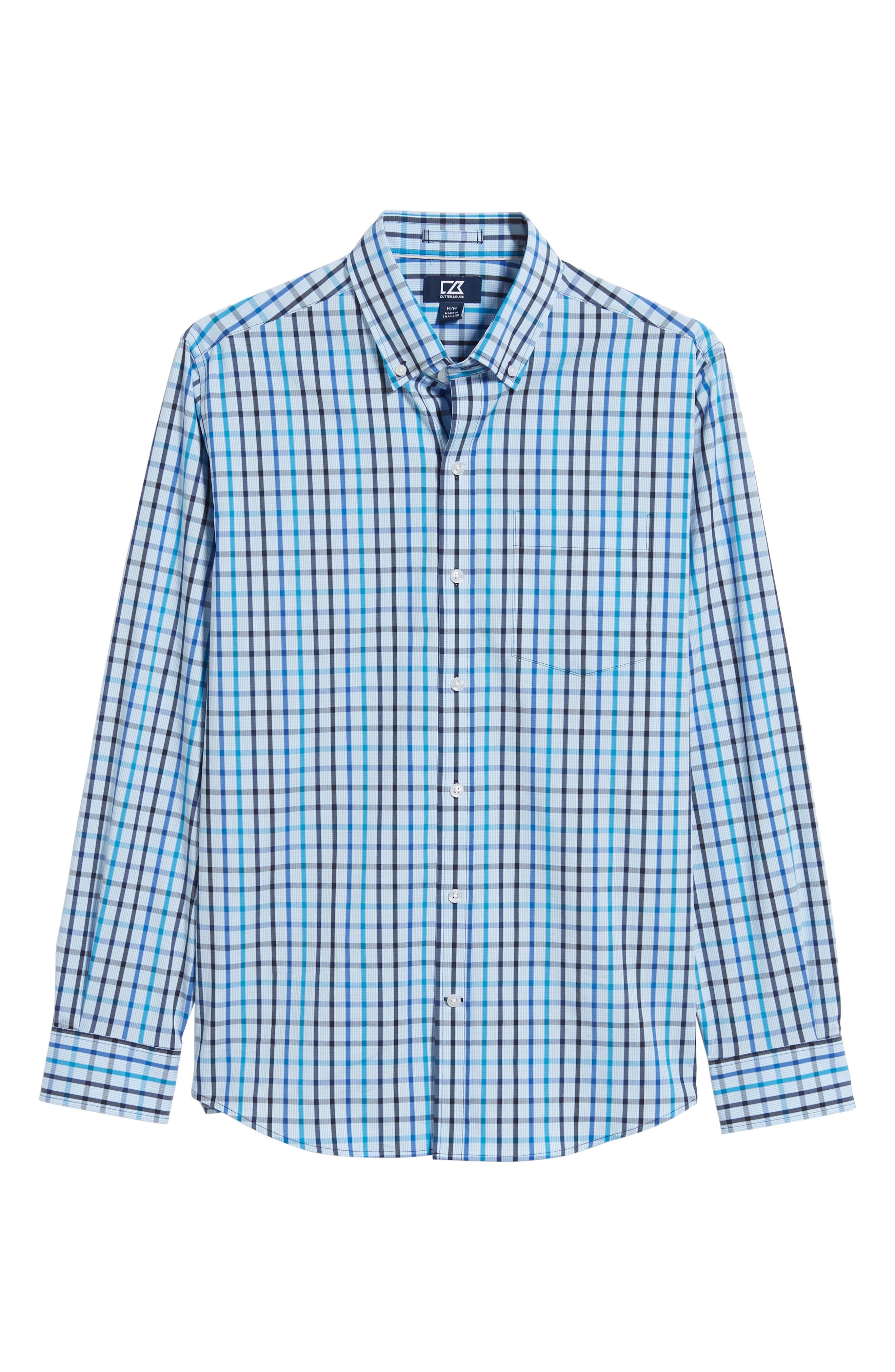 Clarence Regular Fit Plaid Sport Shirt,                             Alternate thumbnail 5, color,                             LIBERTY NAVY