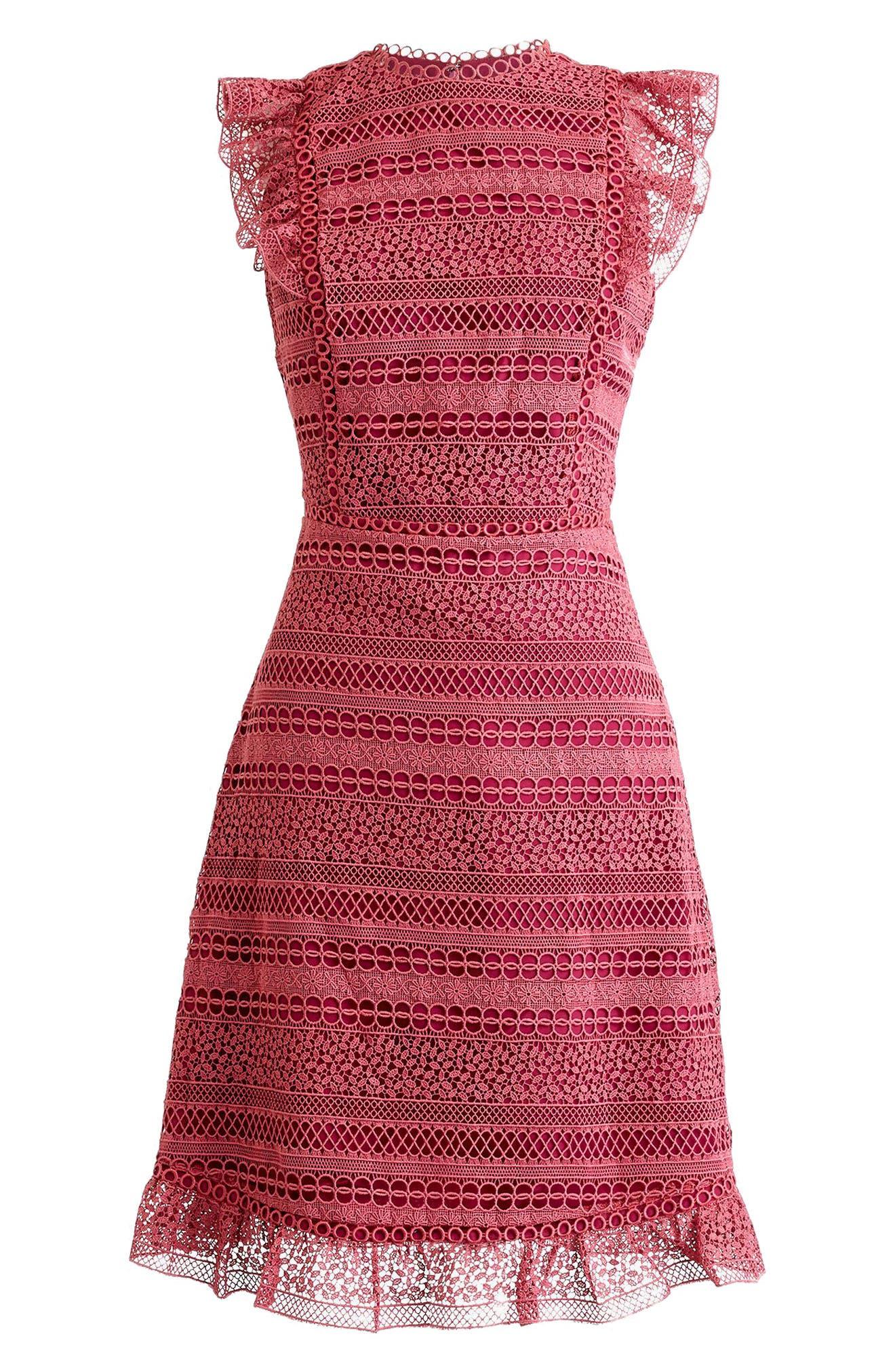 Cap Sleeve Ruffle Lace Dress,                             Main thumbnail 3, color,
