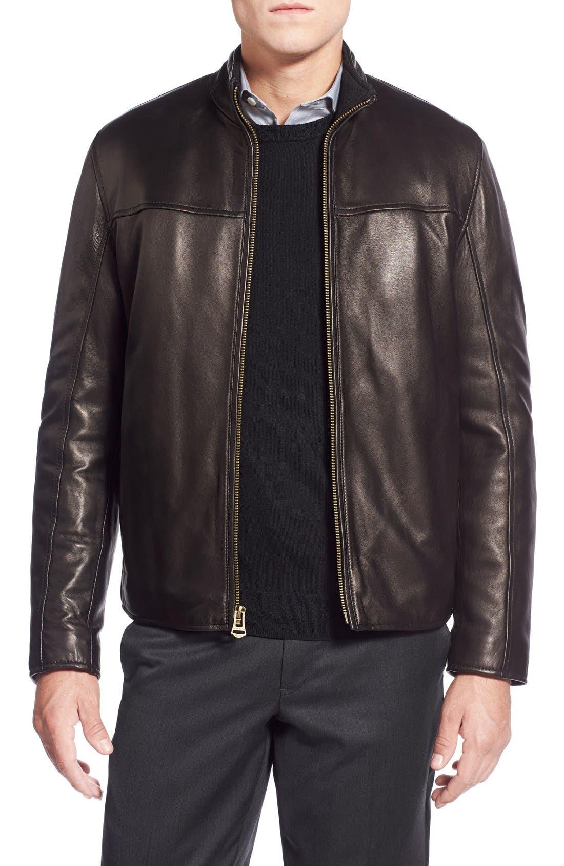 Lambskin Leather Moto Jacket,                         Main,                         color, 001