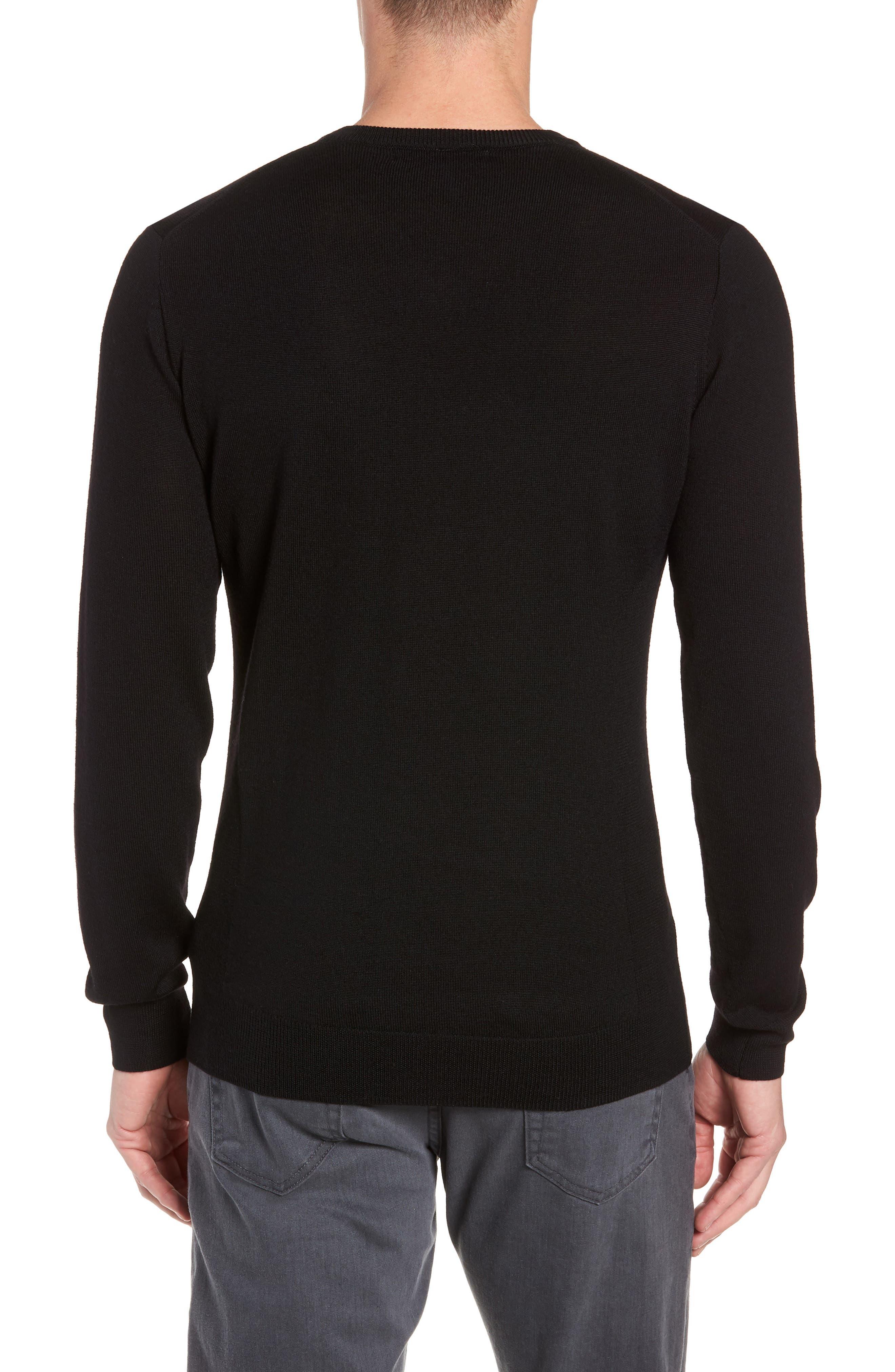 Shearer V-Neck Merino Sweater,                             Alternate thumbnail 2, color,                             BLACK
