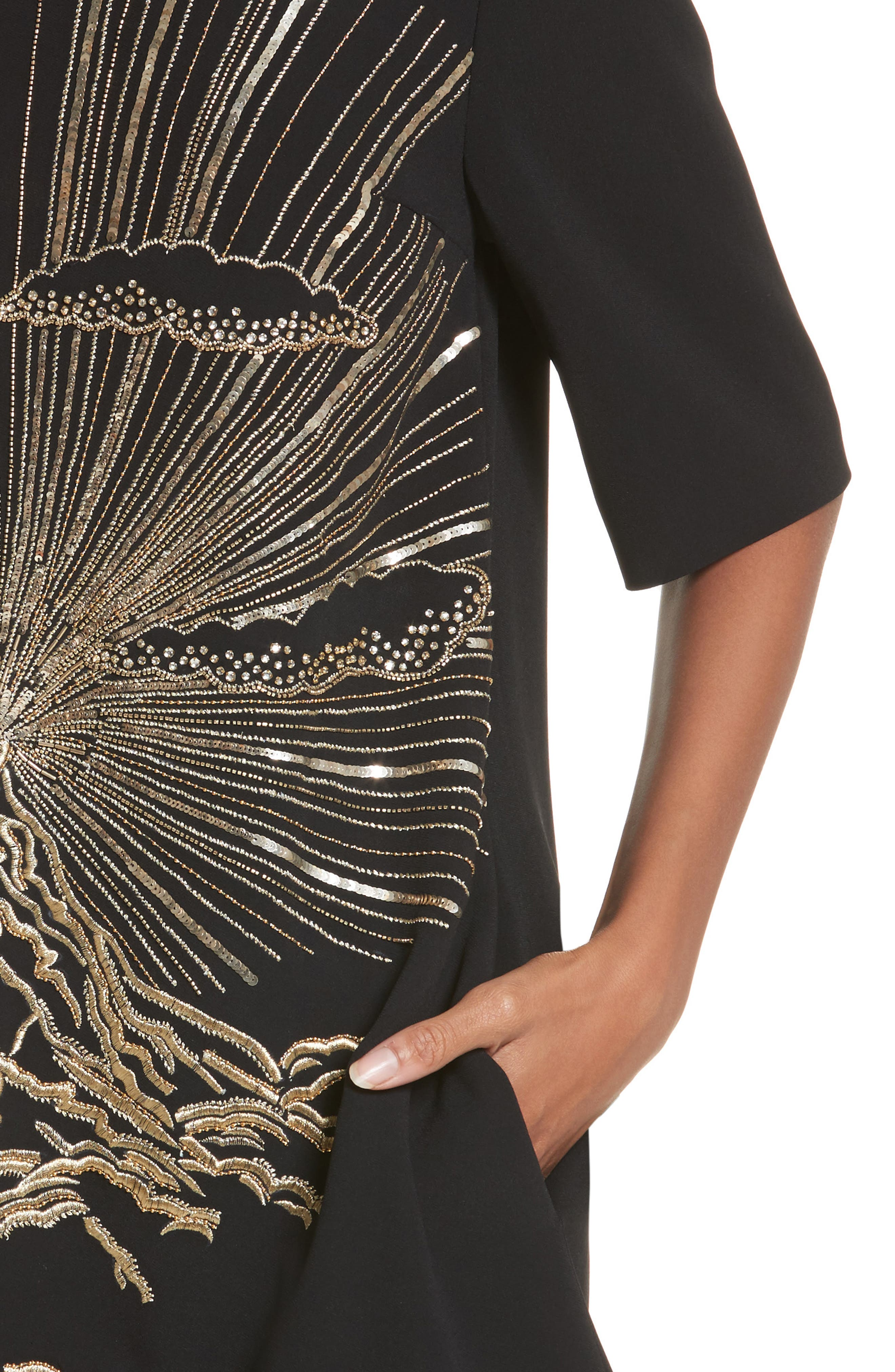 Volcano Embroidered Stretch Cady T-Shirt Dress,                             Alternate thumbnail 4, color,                             001
