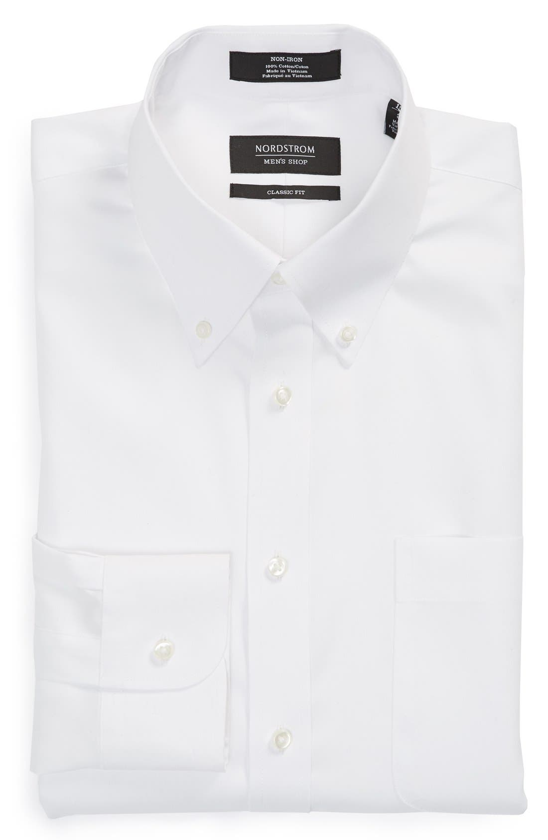 Classic Fit Non-Iron Solid Dress Shirt,                         Main,                         color, WHITE
