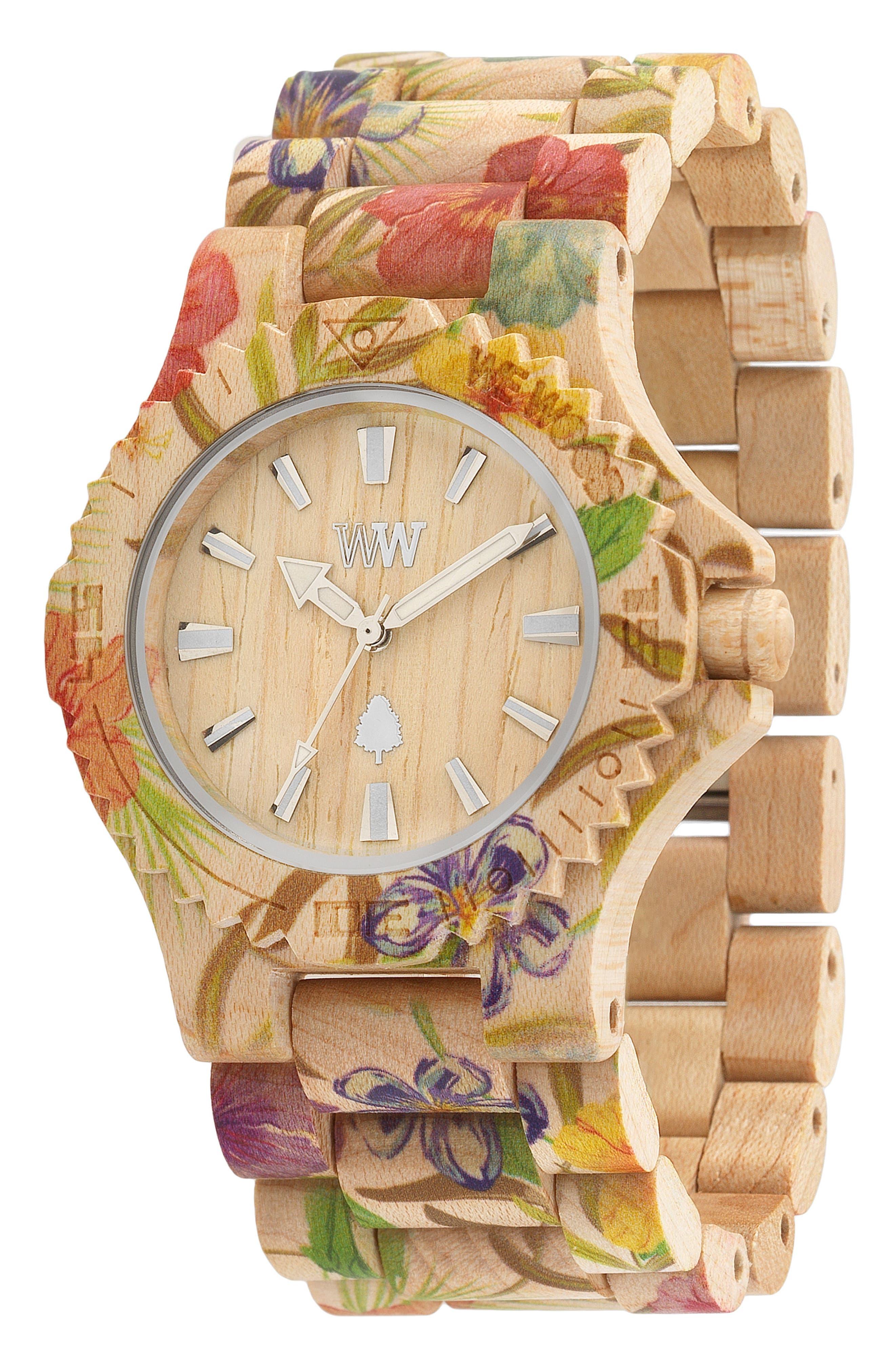Date Wood Bracelet Watch, 42mm,                             Alternate thumbnail 3, color,                             250