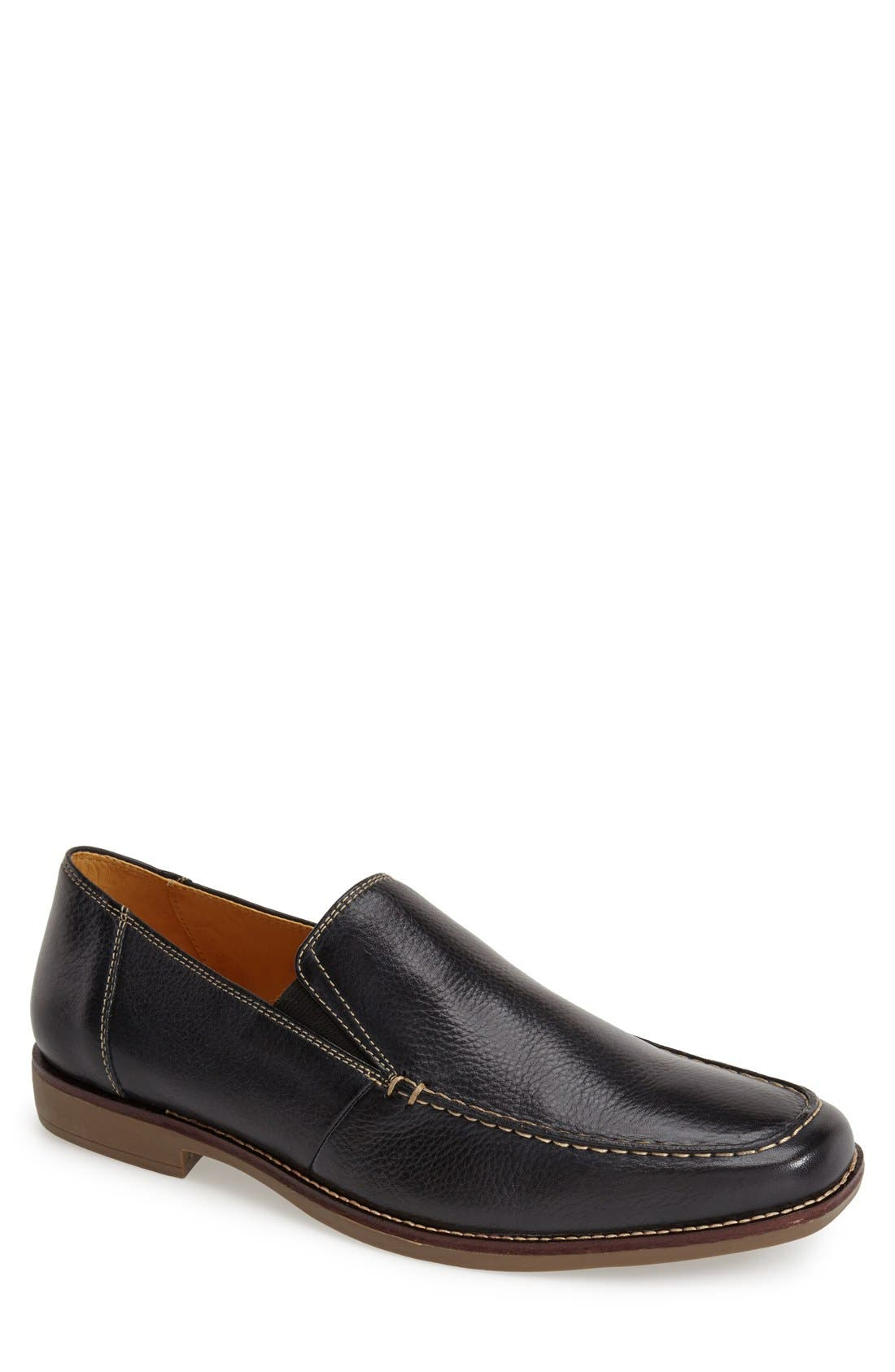 'Easy' Leather Venetian Loafer,                             Main thumbnail 1, color,                             NAVY