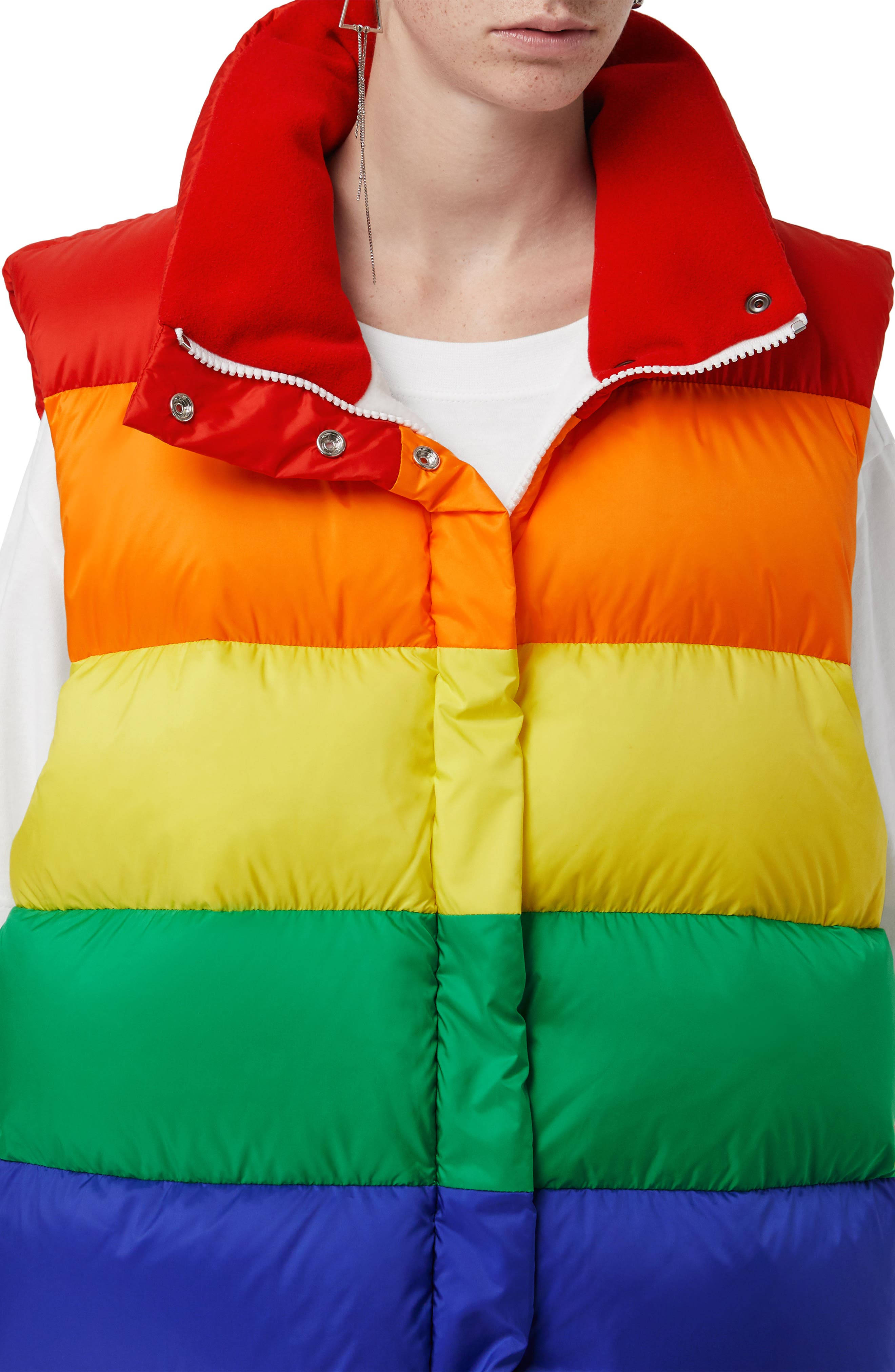 Rainbow Down Puffer Vest,                             Alternate thumbnail 3, color,                             RAINBOW