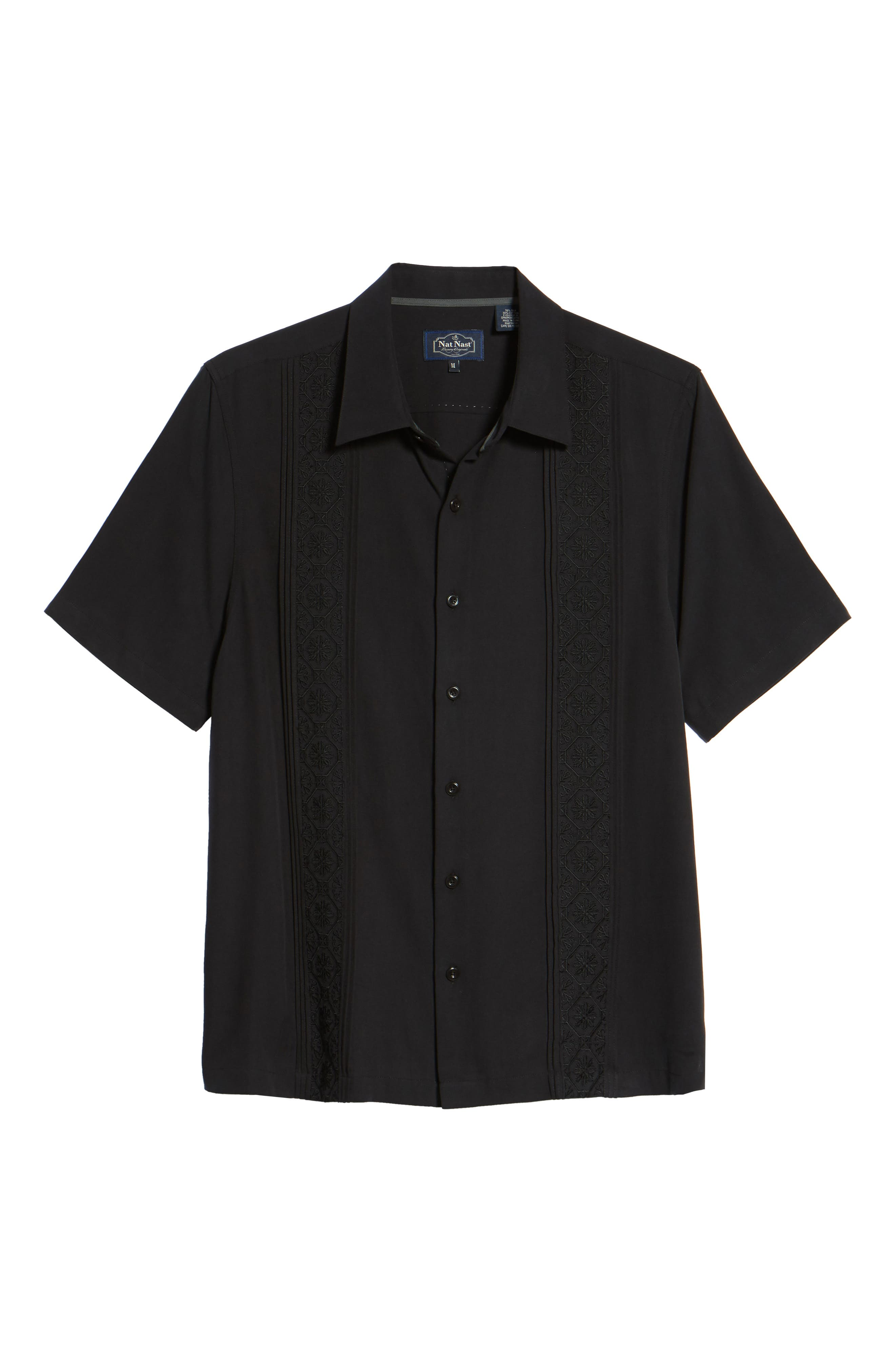 Regular Fit Embroidered Silk Sport Shirt,                             Alternate thumbnail 6, color,