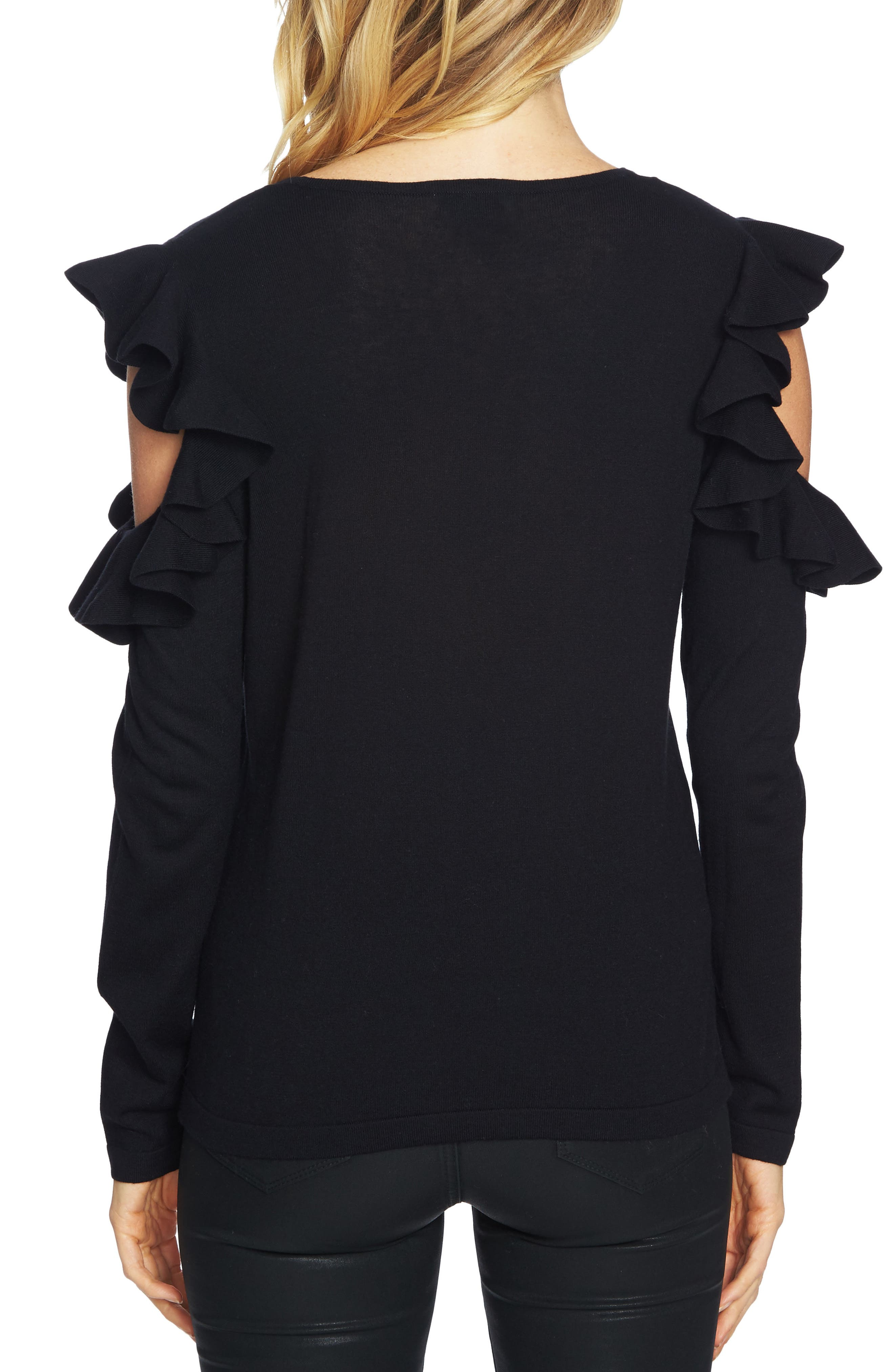 Ruffled Cold Shoulder Sweater,                             Alternate thumbnail 7, color,