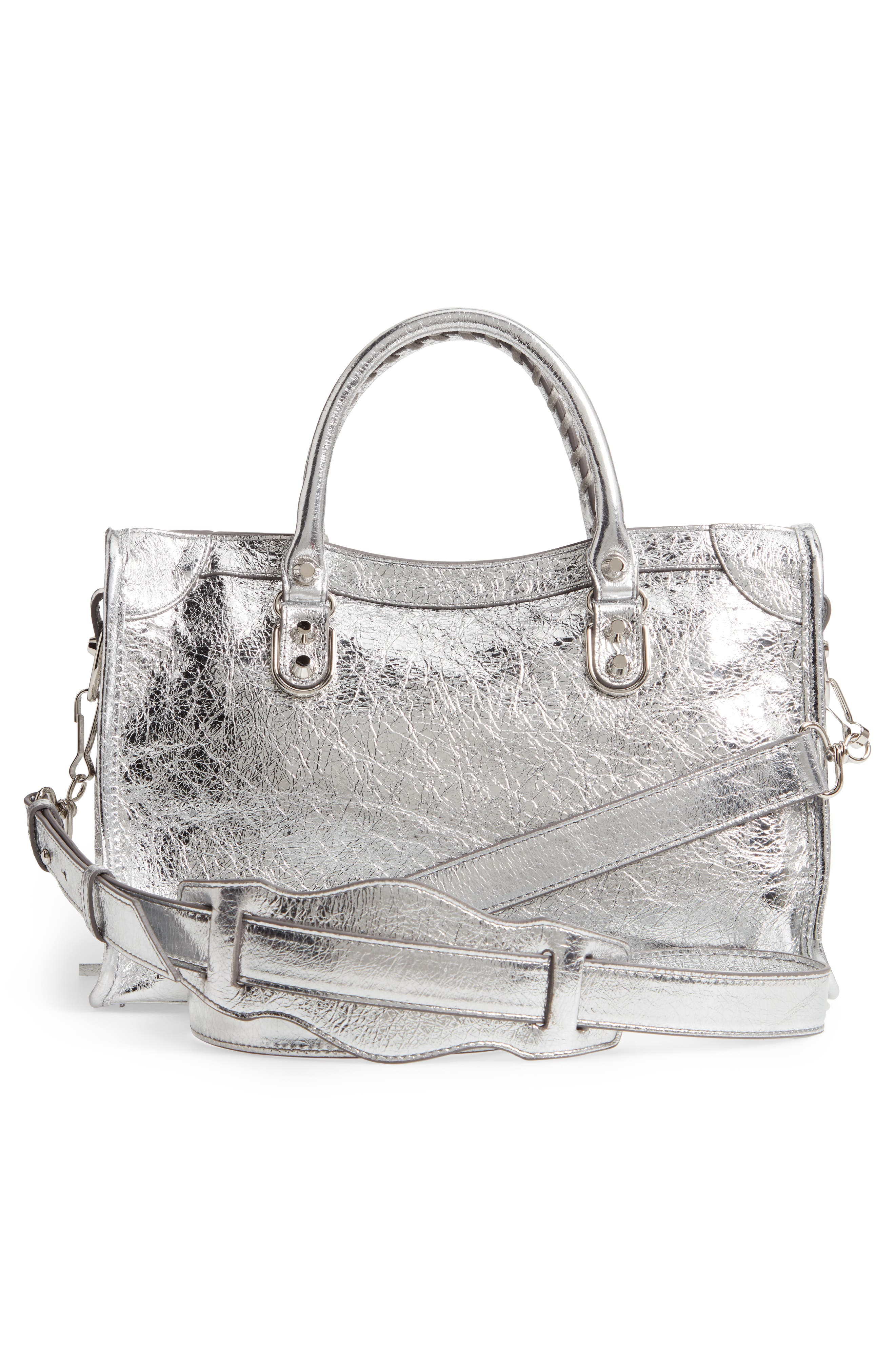 Small Metallic Edge City Leather Tote,                             Alternate thumbnail 3, color,                             ARGENT