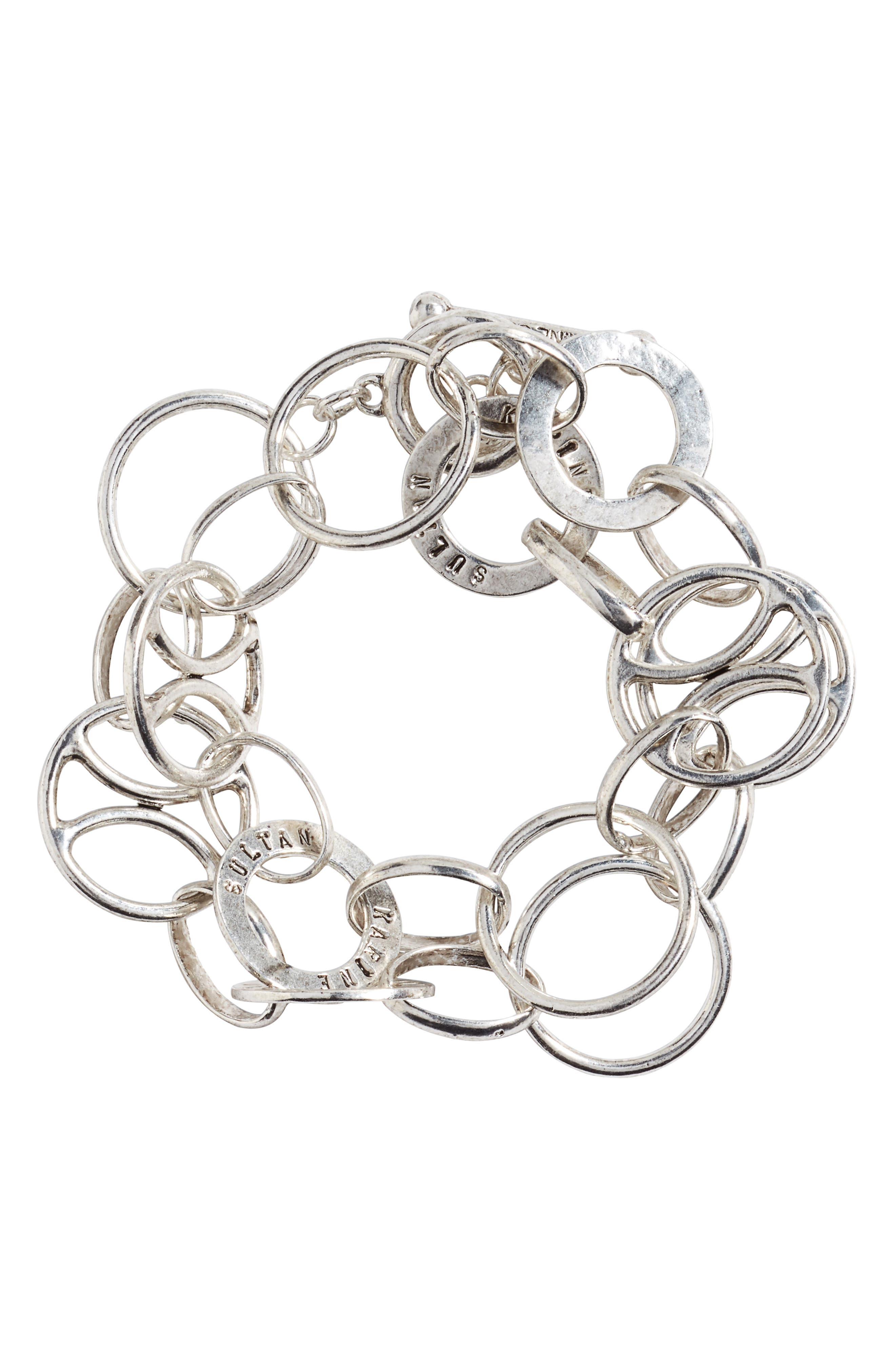 Link Wrap Bracelet,                         Main,                         color, SILVER