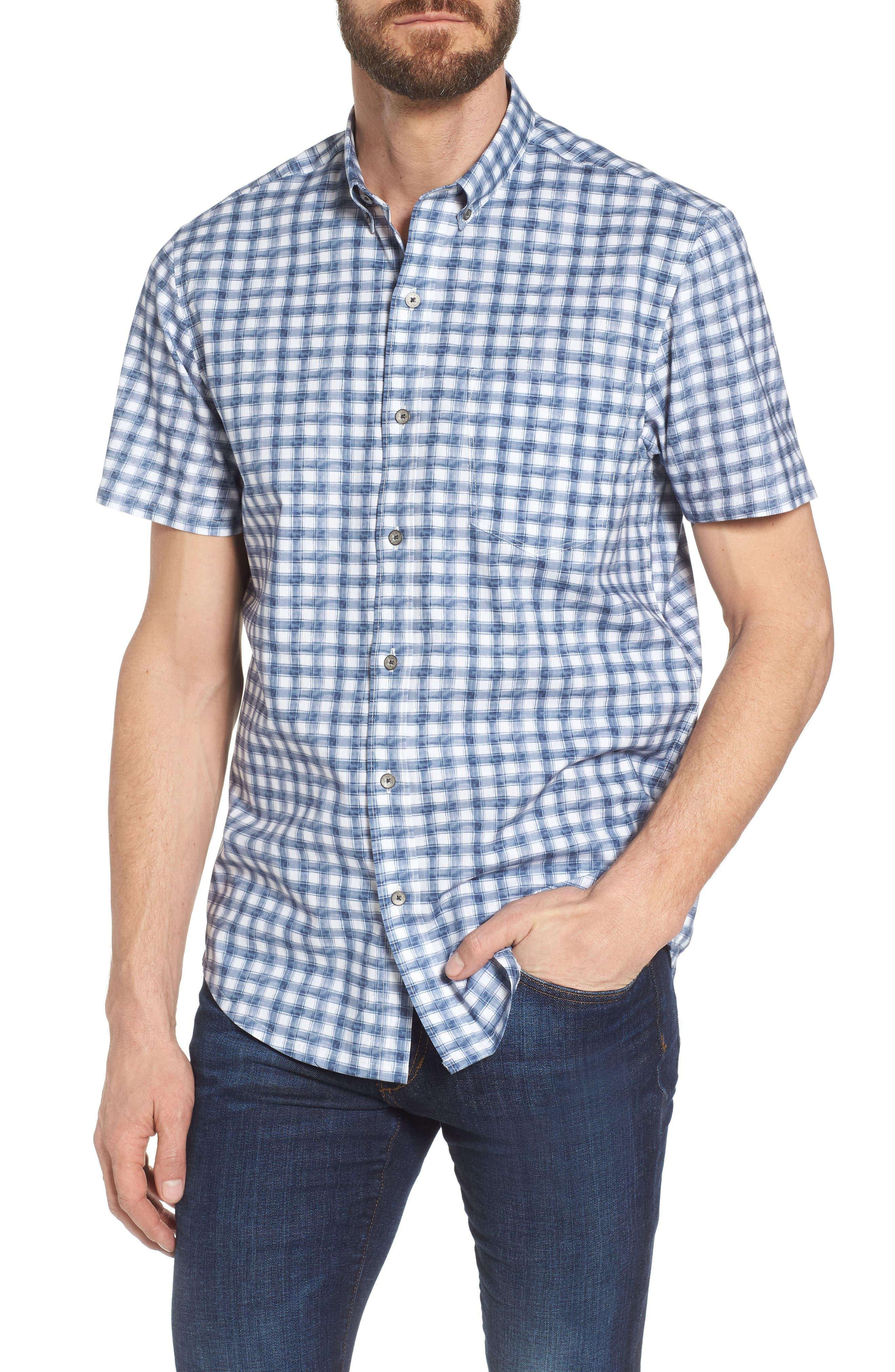 Watercolor Slim Fit Stretch Short Sleeve Sport Shirt,                             Main thumbnail 1, color,                             020