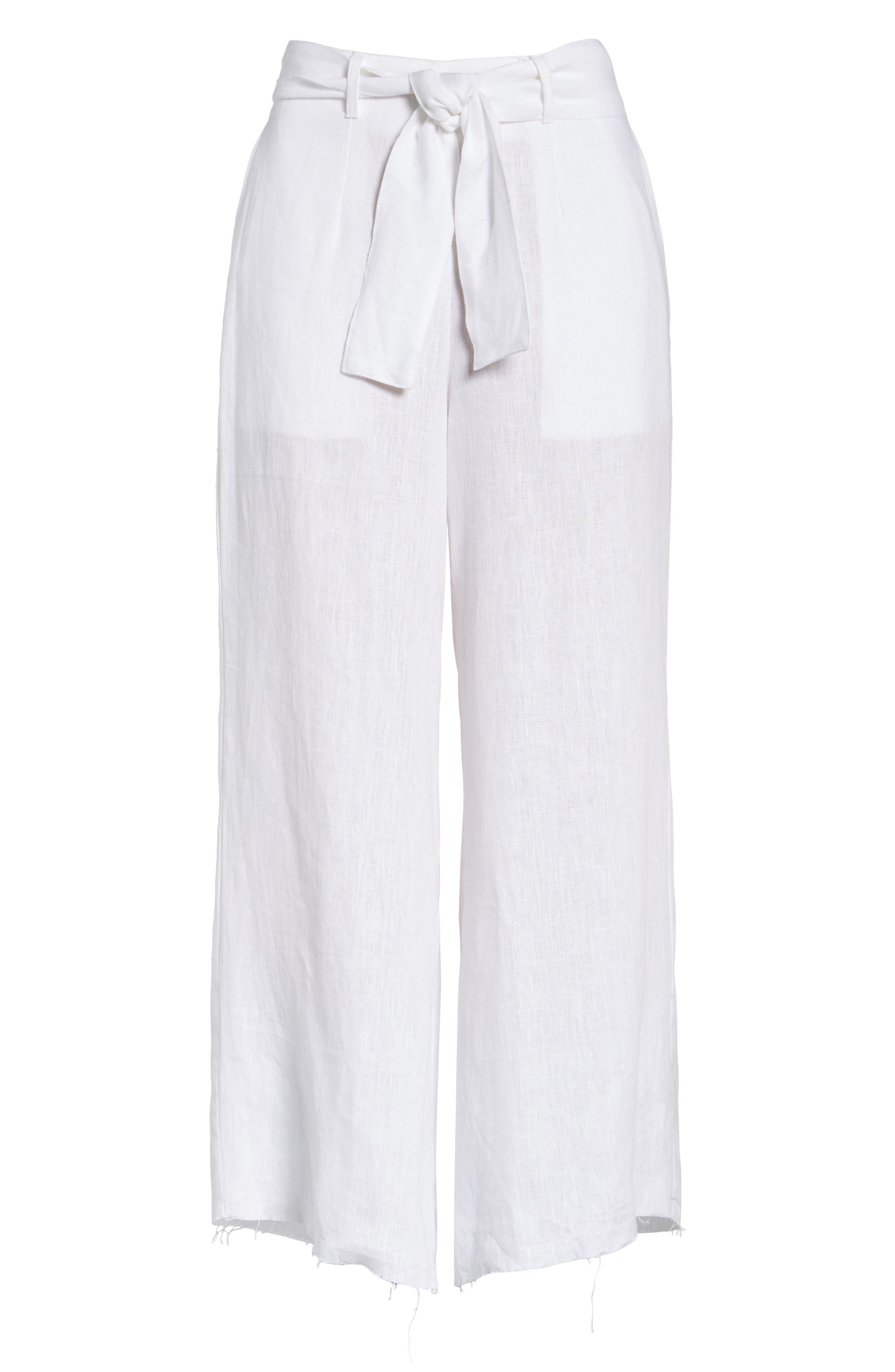 Como Crop Wide Leg Linen Pants,                             Alternate thumbnail 6, color,                             100