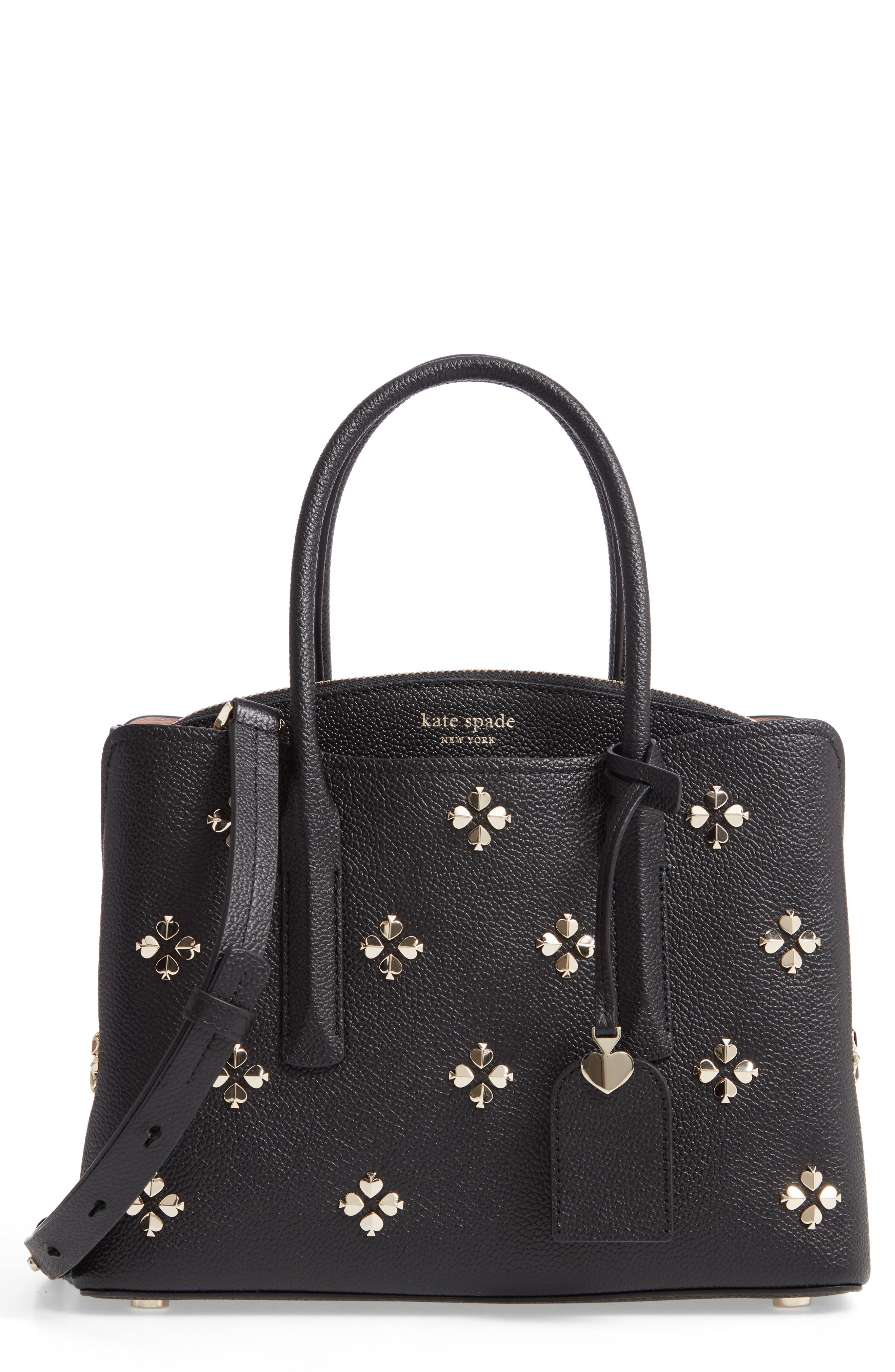 medium margaux embellished leather satchel, Main, color, BLACK