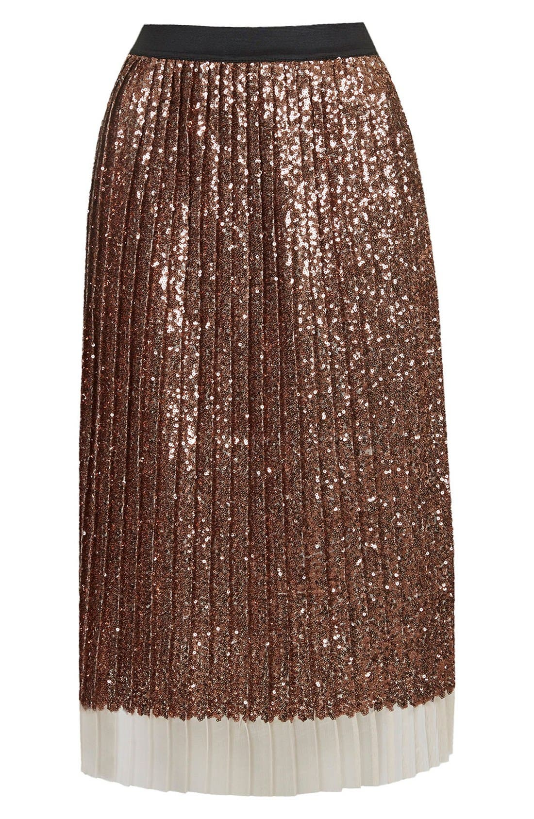 Sequin Pleated Midi Skirt,                             Alternate thumbnail 3, color,                             220