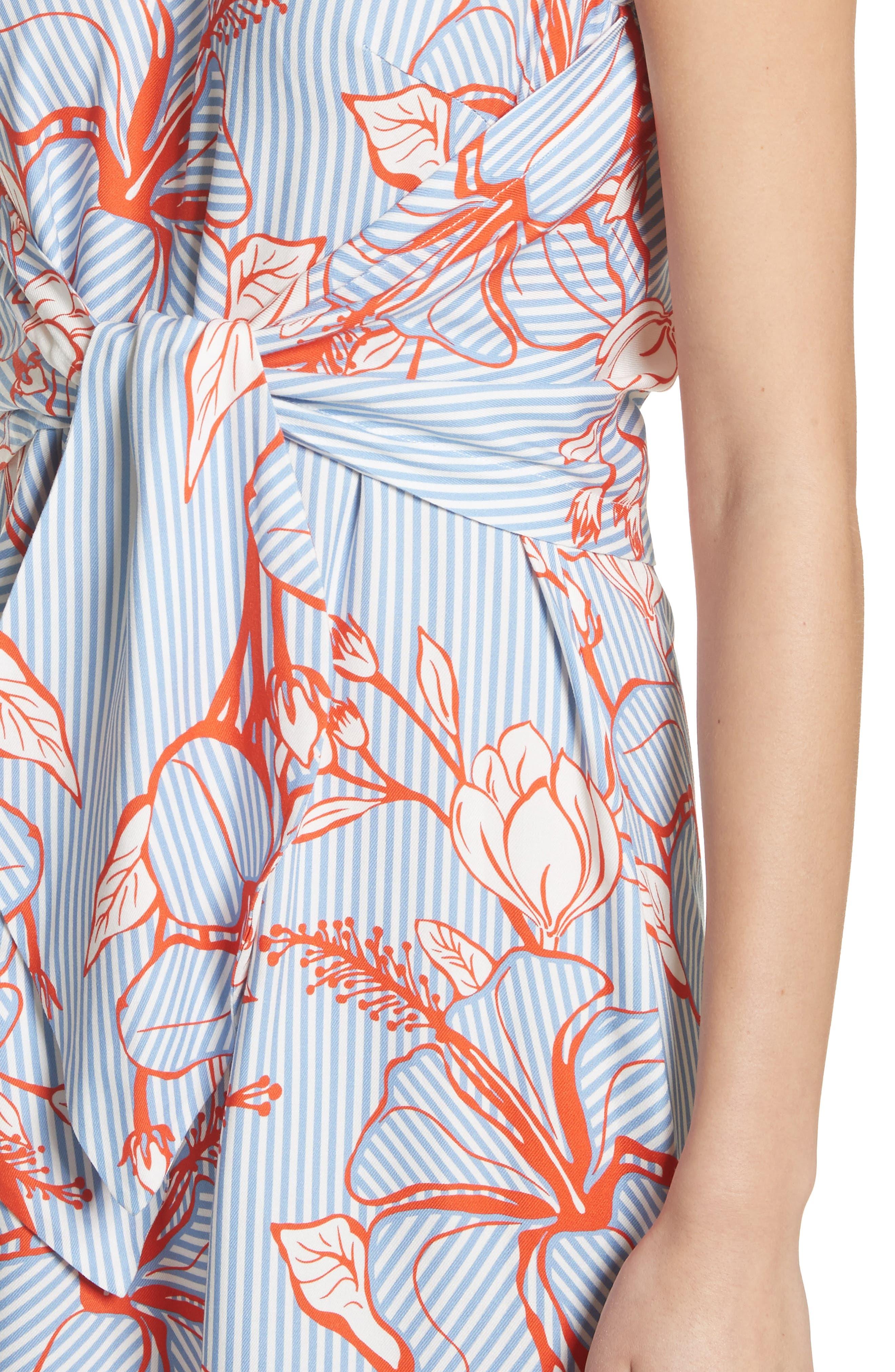 Tie Front Floral Stripe Dress,                             Alternate thumbnail 4, color,