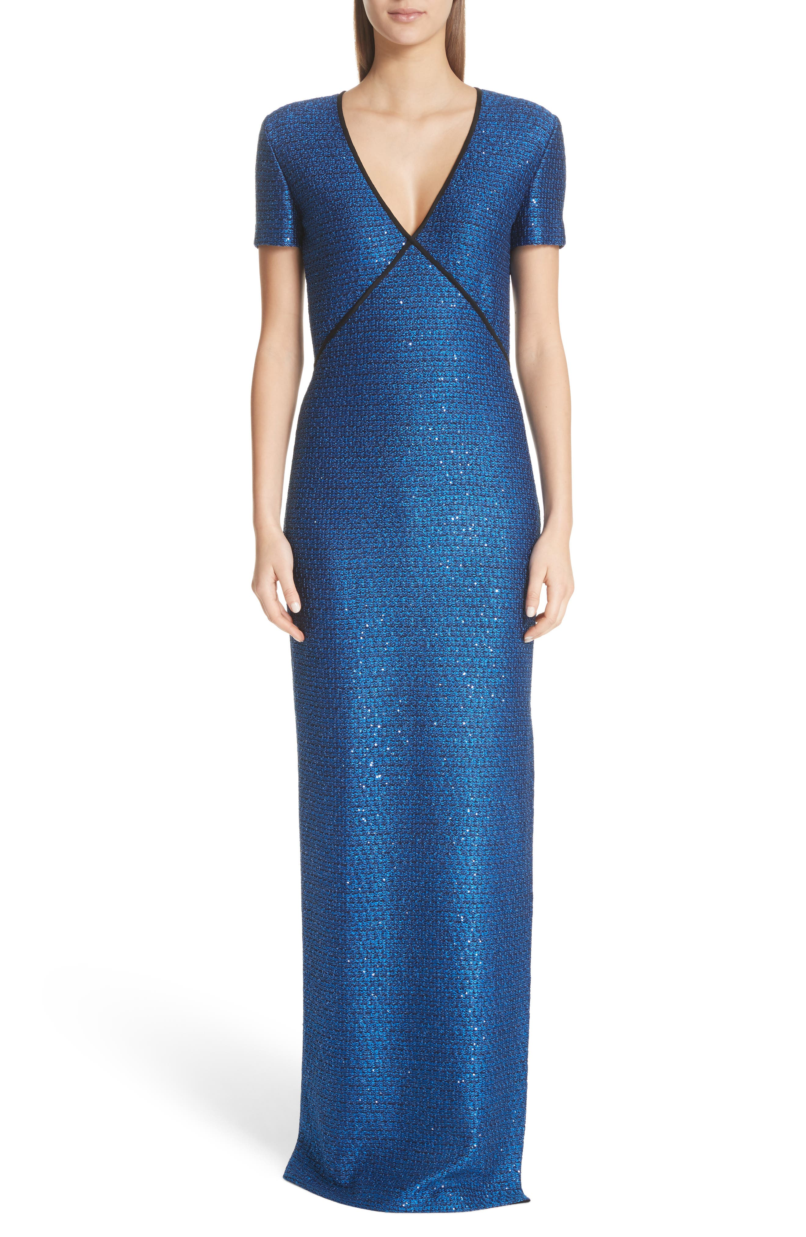Blue Luster Sequin Gown