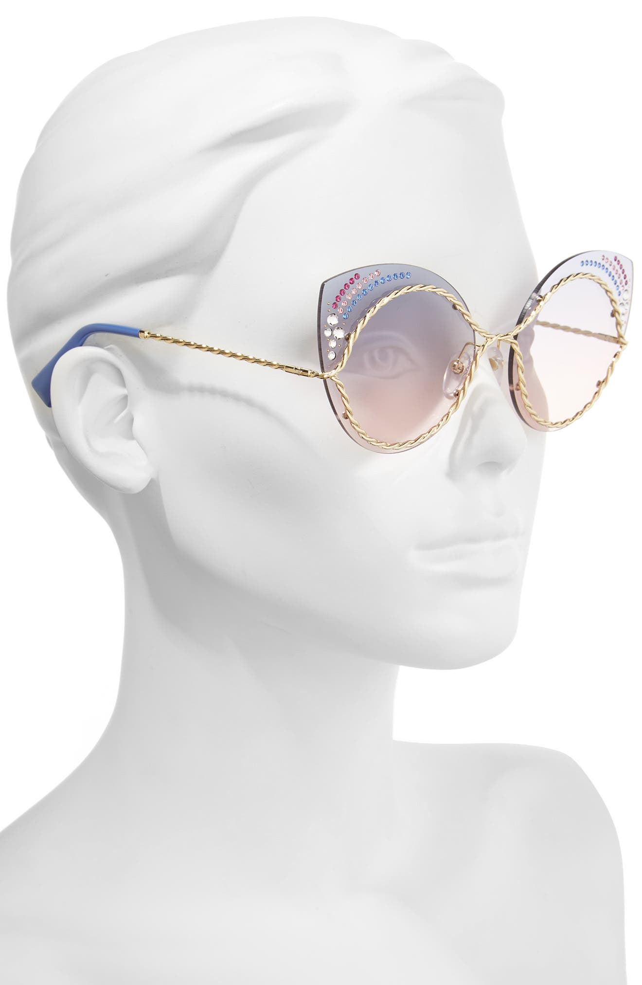 61mm Rimless Gradient Cat Eye Sunglasses,                             Alternate thumbnail 4, color,