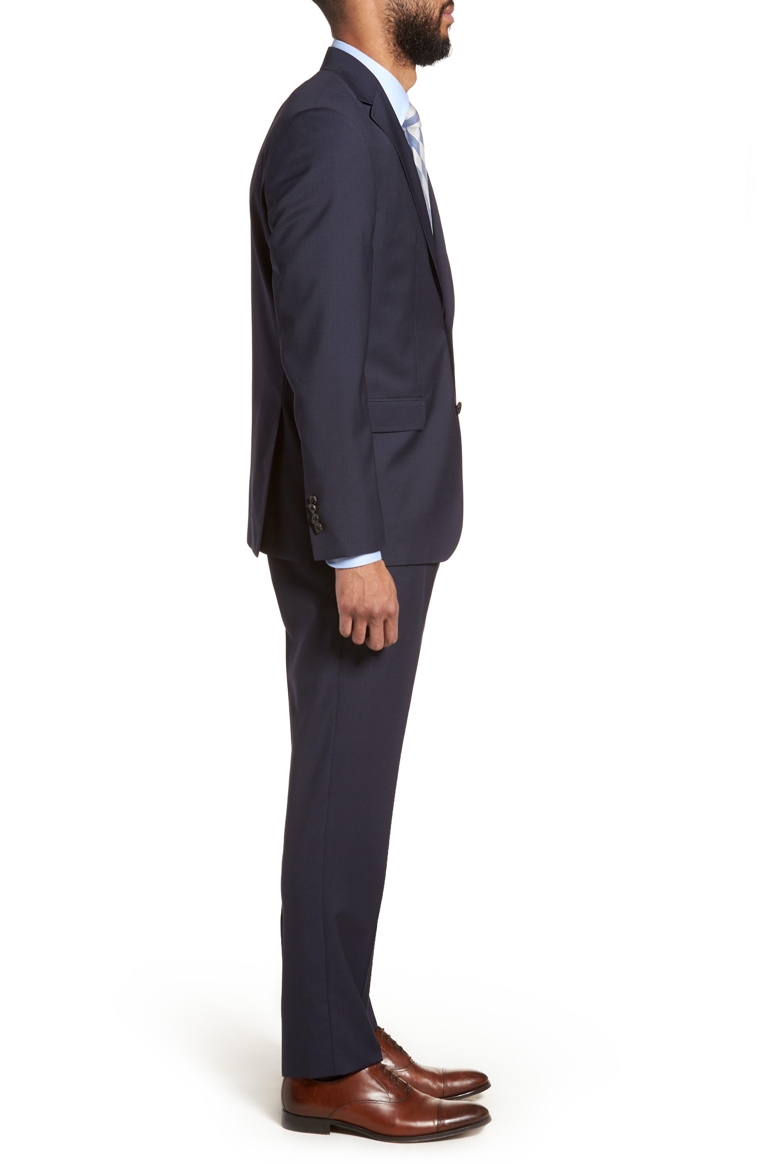 Jay Trim Fit Stripe Wool Suit,                             Alternate thumbnail 3, color,                             NAVY