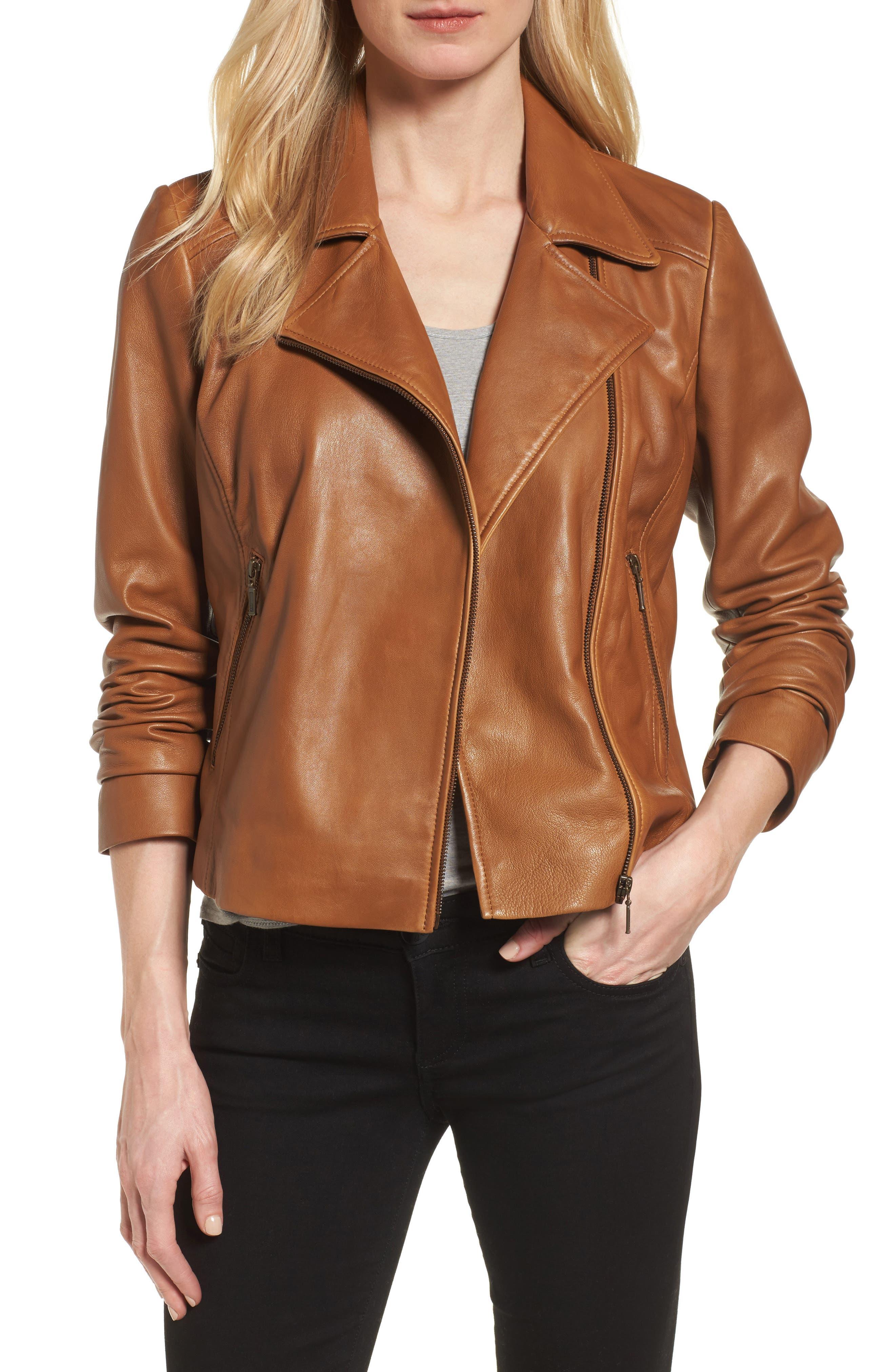 Leather Moto Jacket,                             Main thumbnail 4, color,