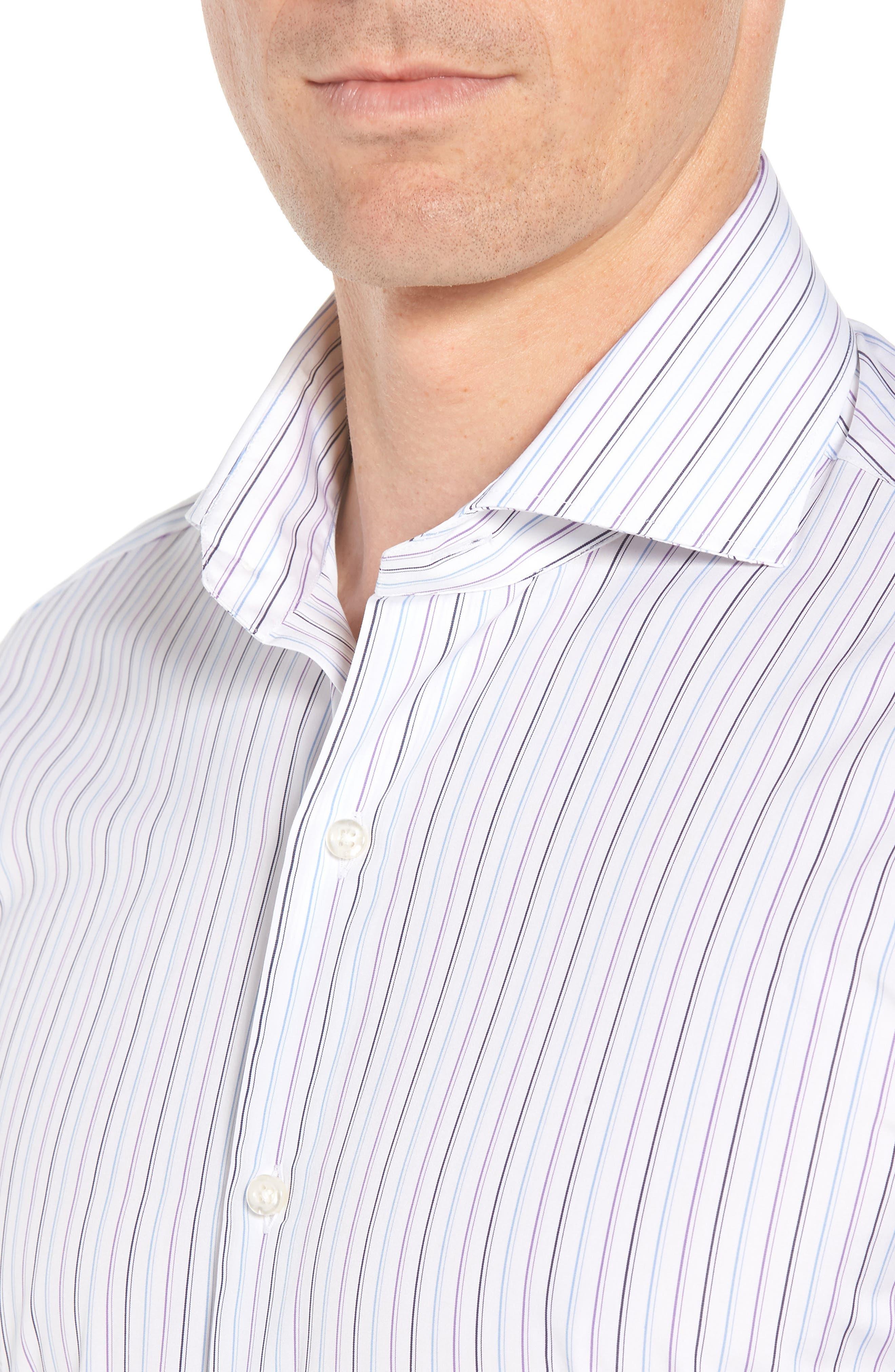 Regular Fit Stripe Dress Shirt,                             Alternate thumbnail 2, color,                             WHITE/ BLUE/ PURPLE