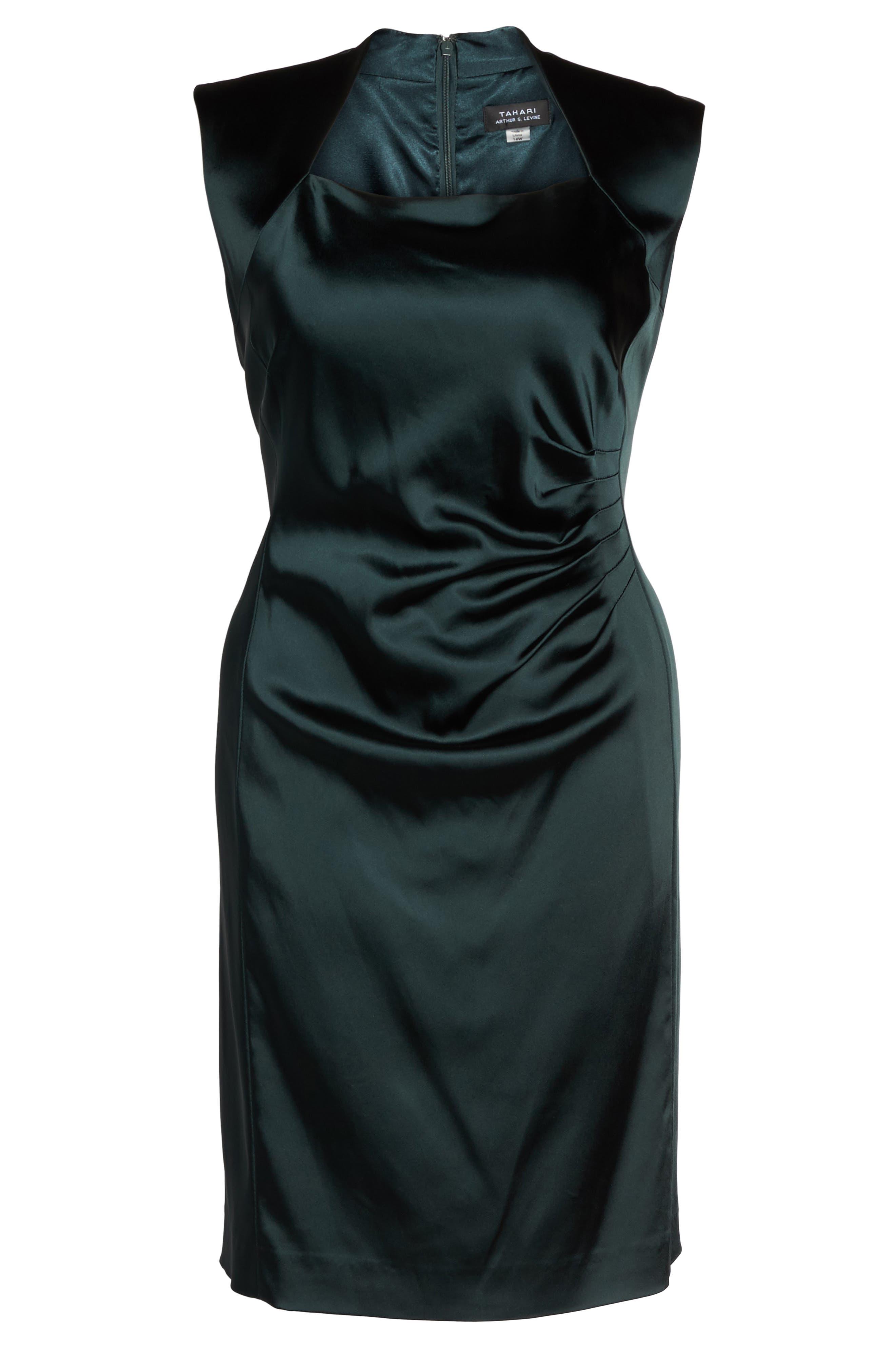 Side Pleat Satin Sheath Dress,                             Alternate thumbnail 6, color,                             384
