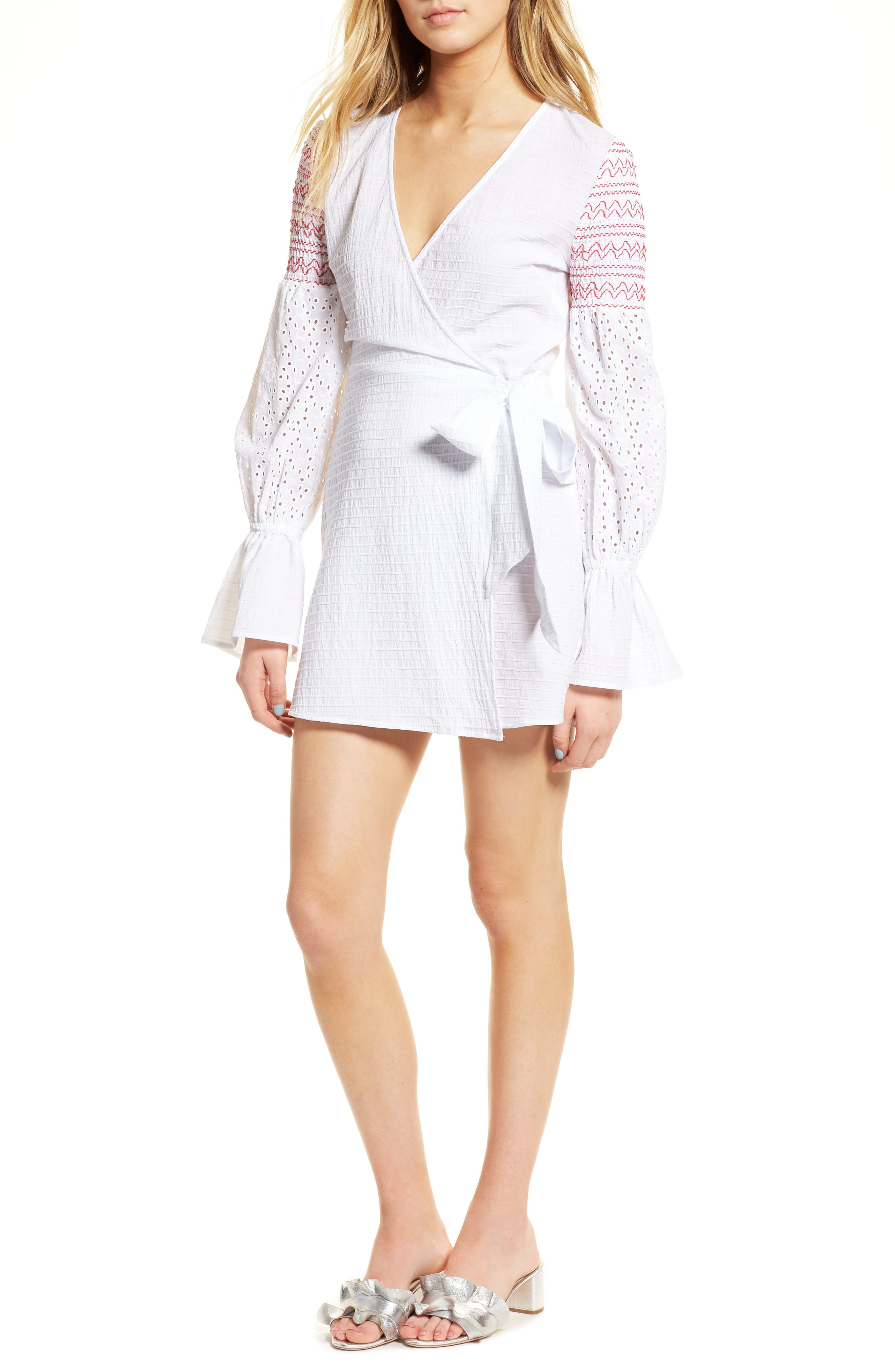 Riverine Smocked Wrap Dress,                         Main,                         color,