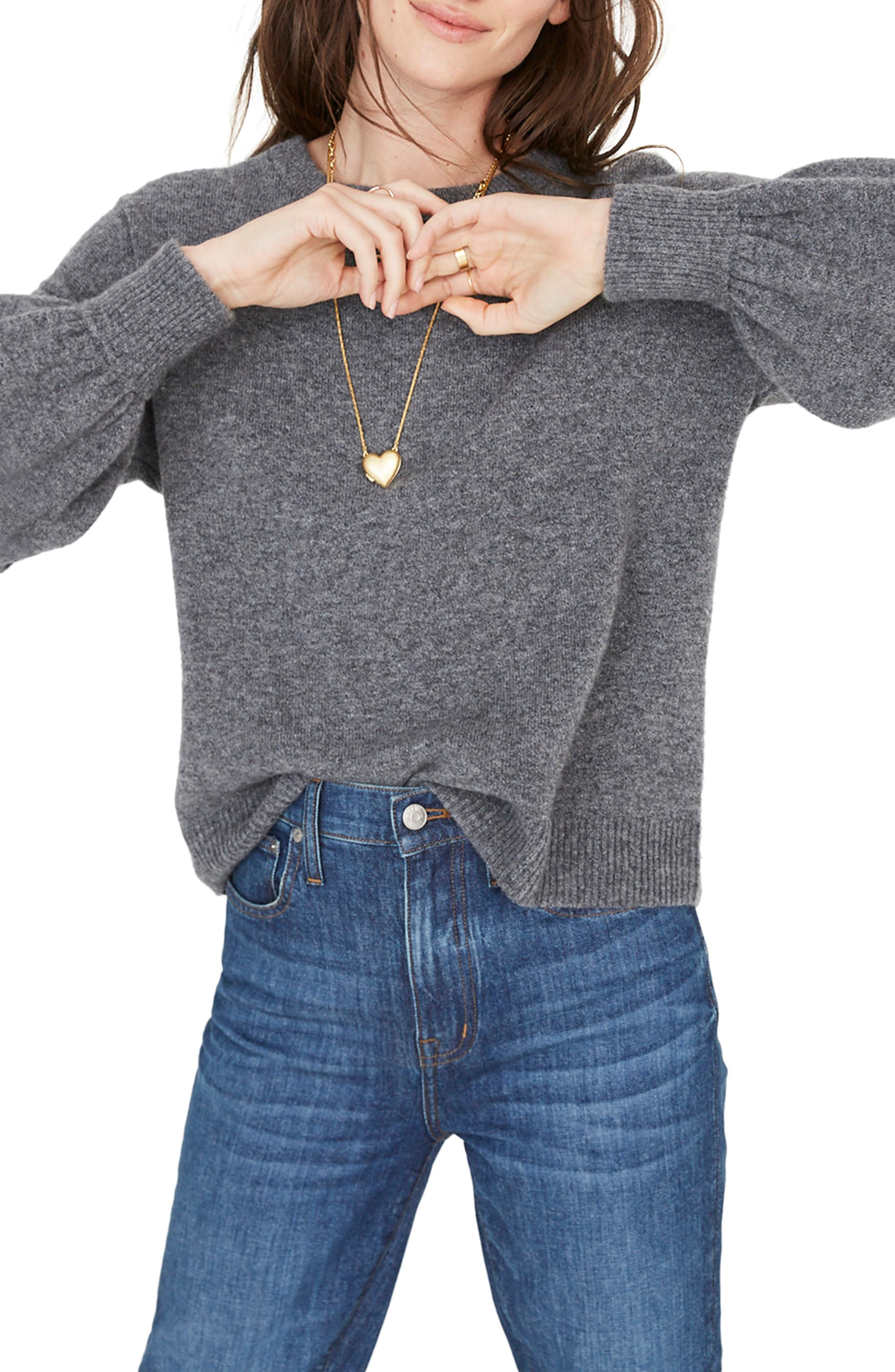 MADEWELL,                             Balloon Sleeve Pullover Sweater,                             Main thumbnail 1, color,                             HEATHER FLANNEL
