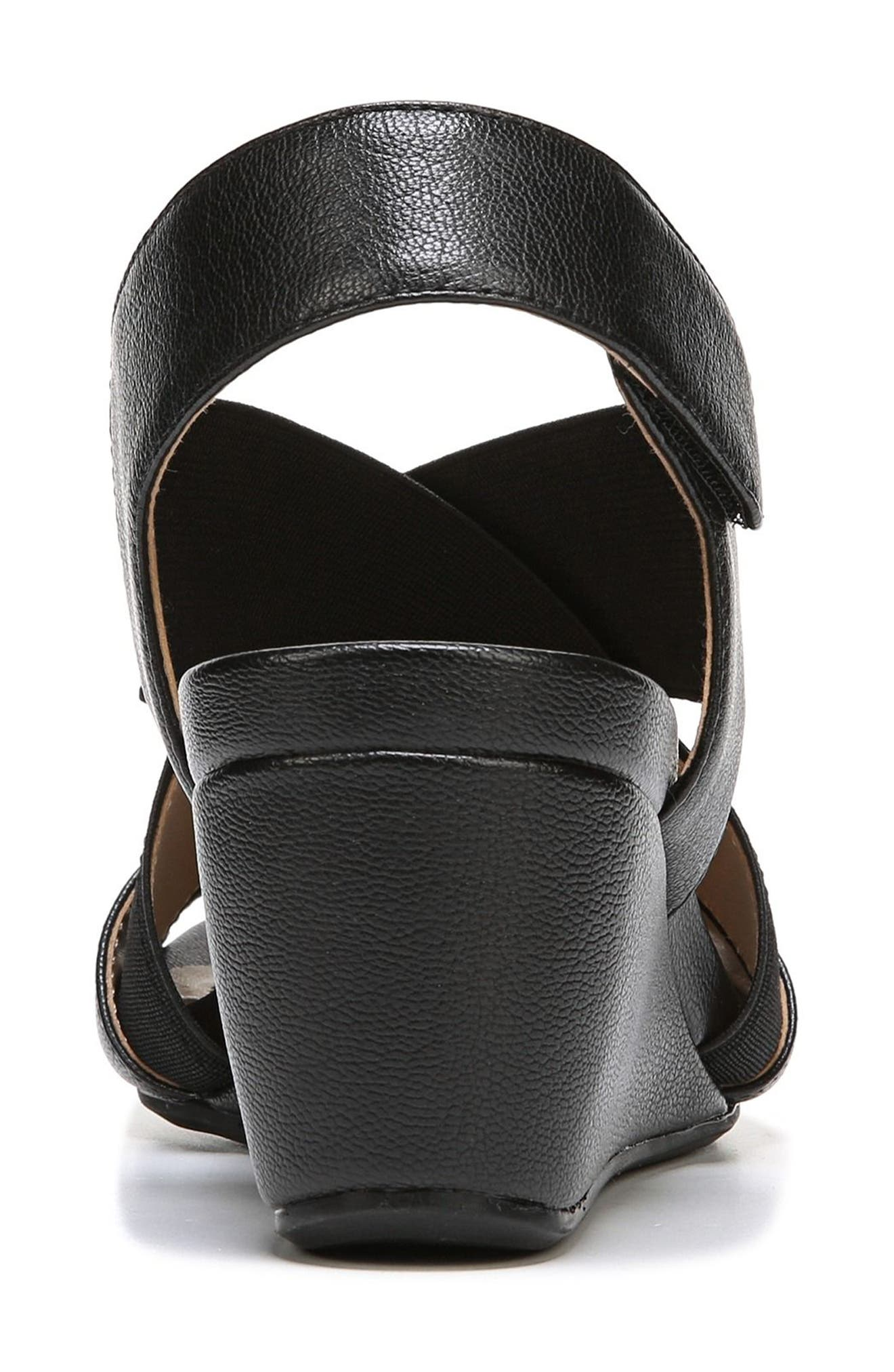 Cleo Wedge Sandal,                             Alternate thumbnail 7, color,                             BLACK LEATHER