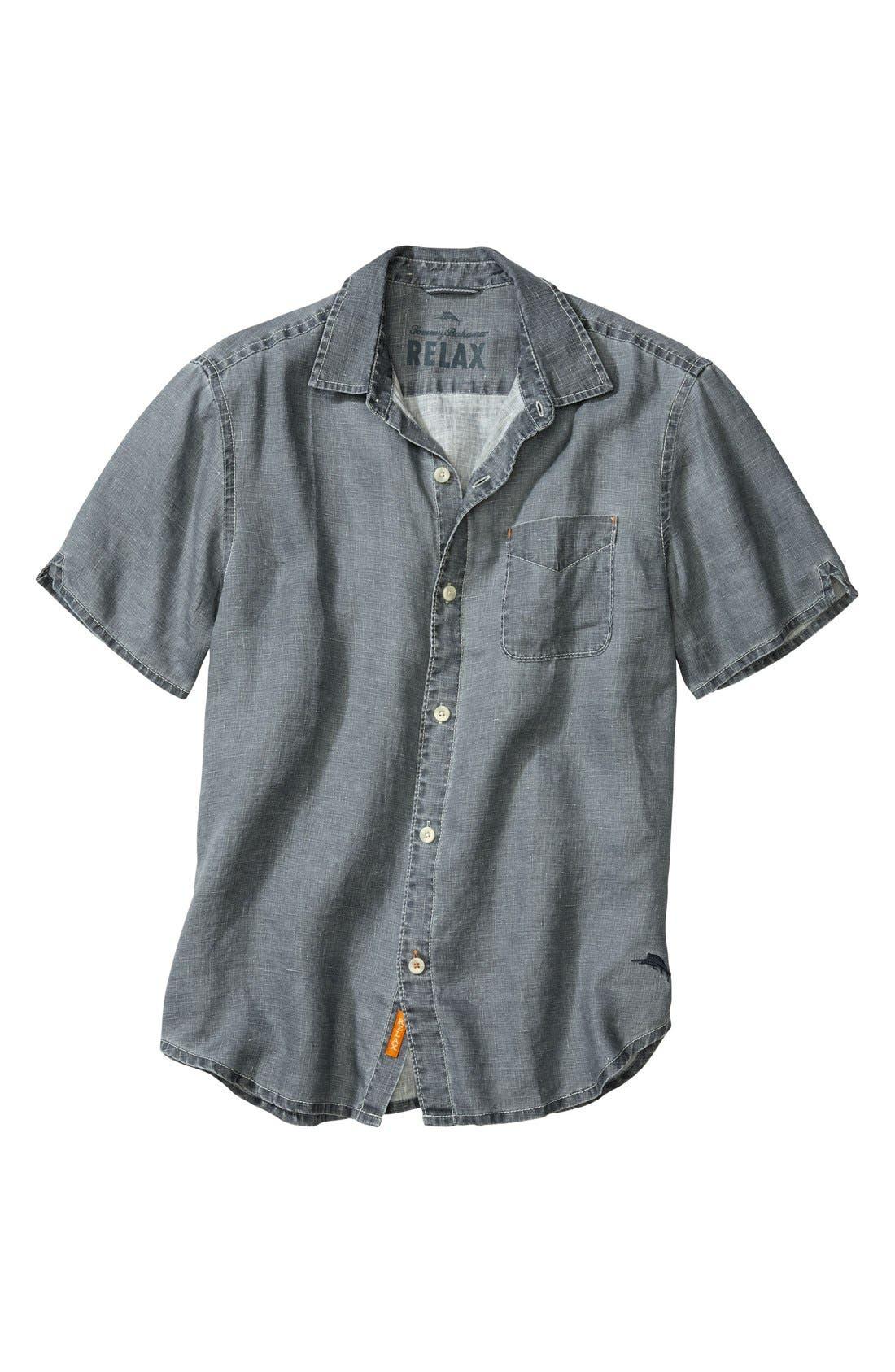 Seaglass Breezer Short Sleeve Linen Sport Shirt,                             Main thumbnail 3, color,