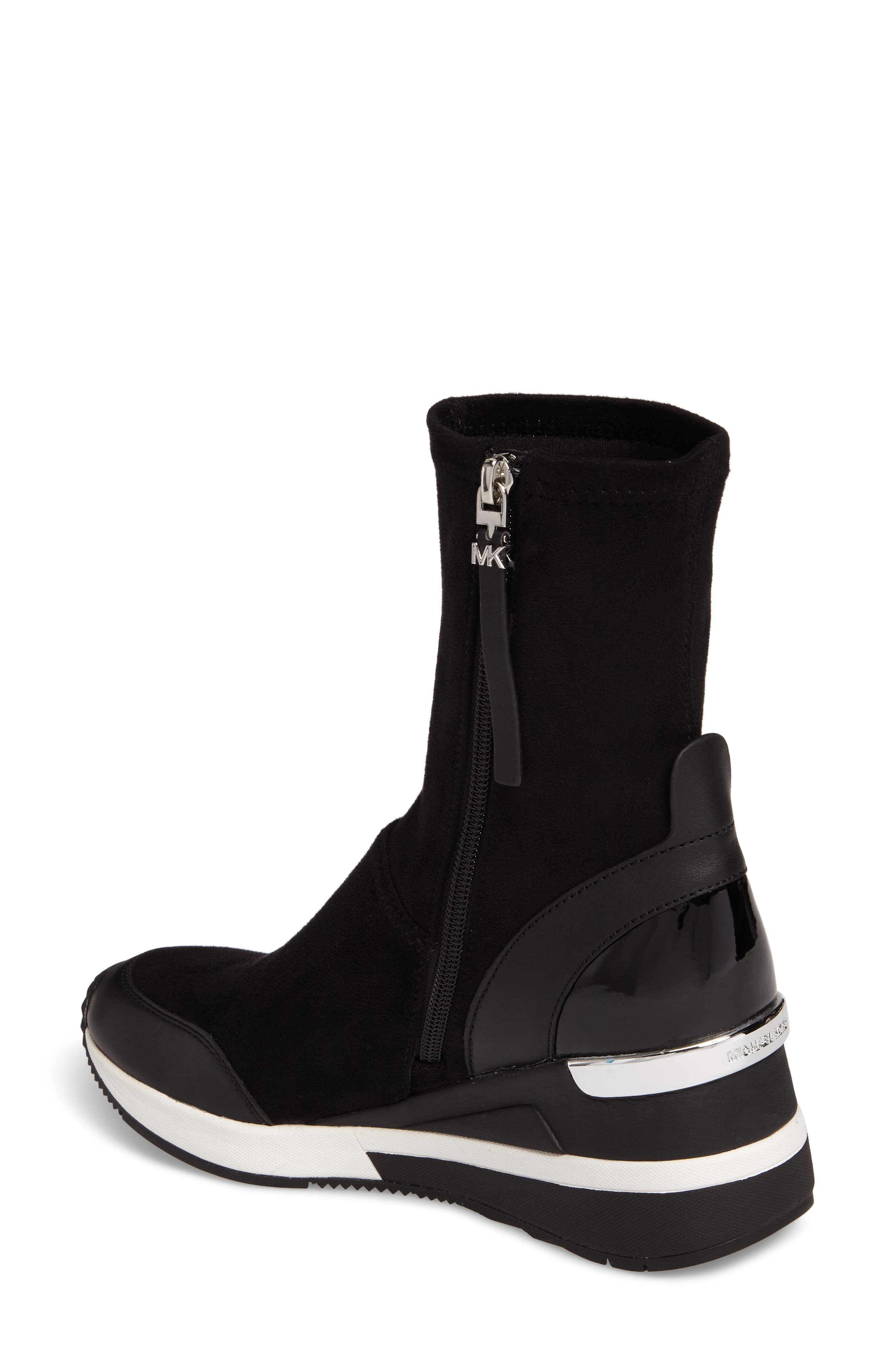 'Ace' Wedge Sneaker Bootie,                             Alternate thumbnail 2, color,                             BLACK SUEDE