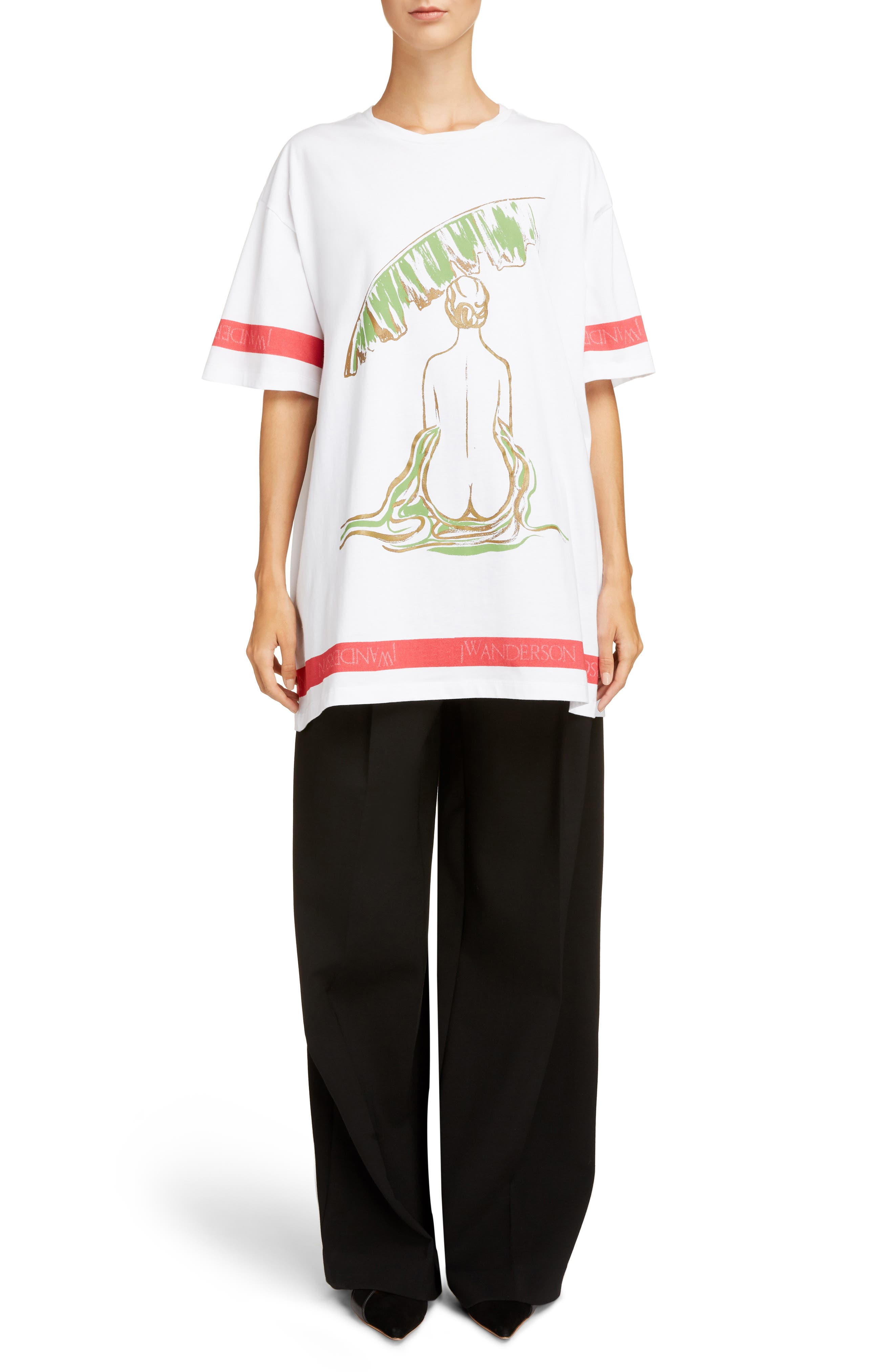 Palm Lady Oversized Tee,                             Alternate thumbnail 6, color,                             100