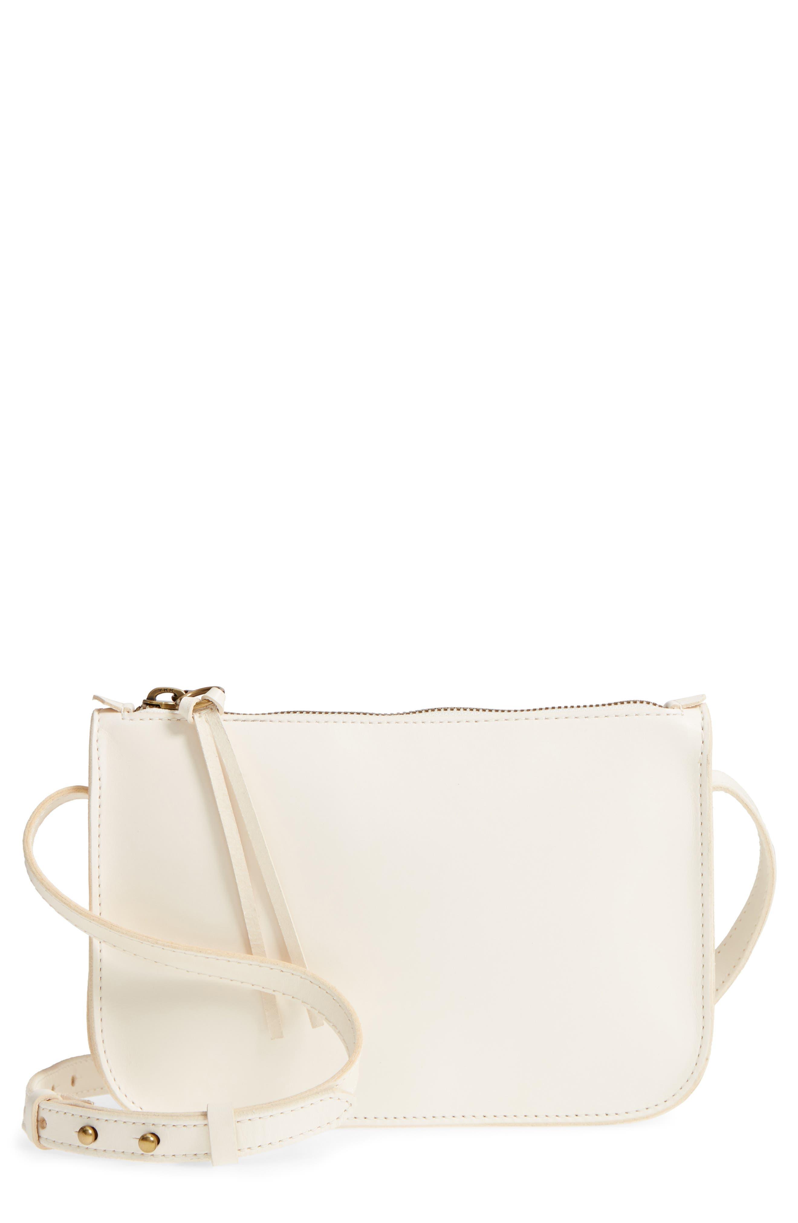 Simple Leather Crossbody Bag,                             Main thumbnail 1, color,                             VINTAGE CANVAS