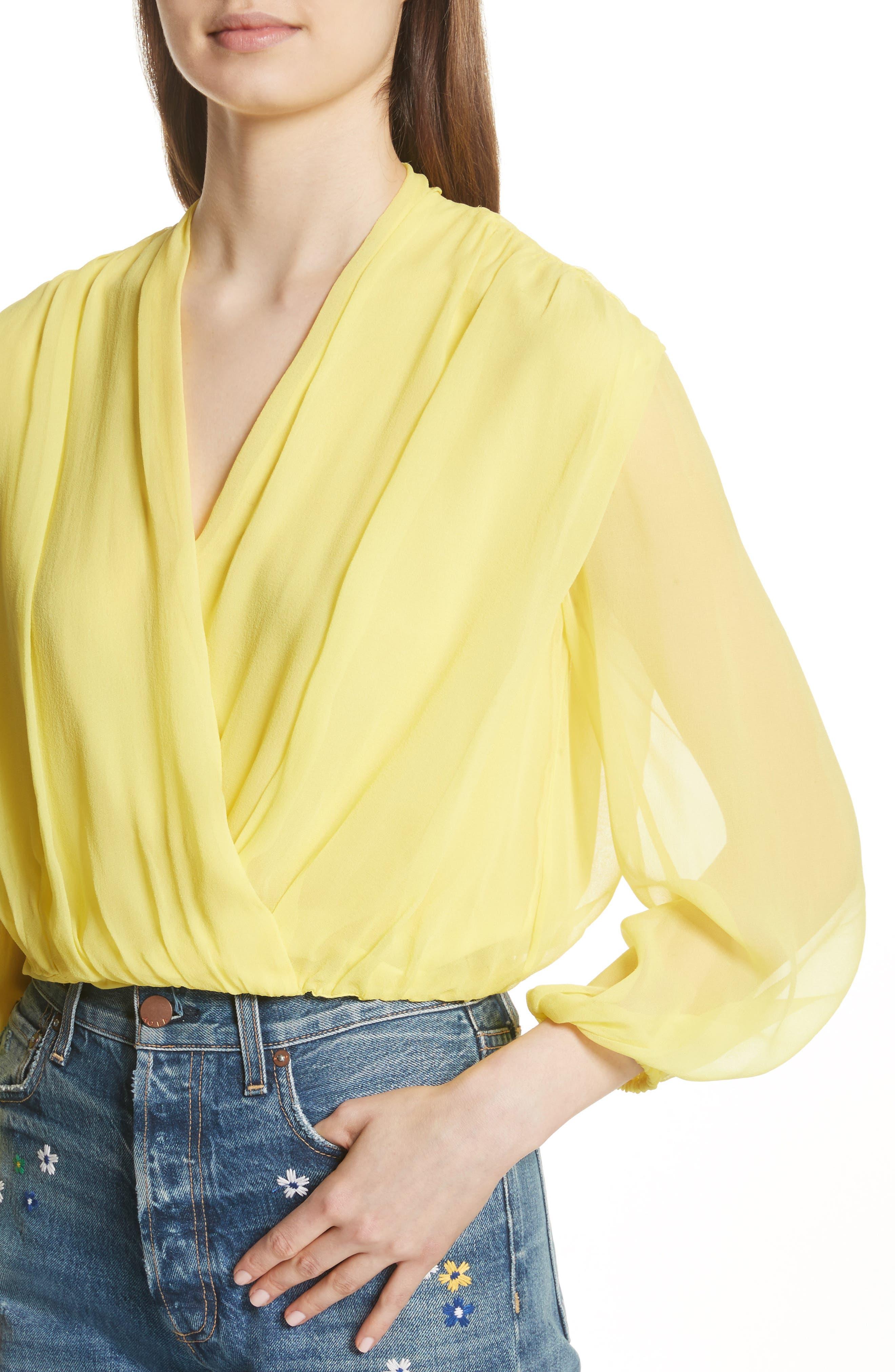Trista Faux Wrap Silk Blouson Top,                             Alternate thumbnail 4, color,                             703