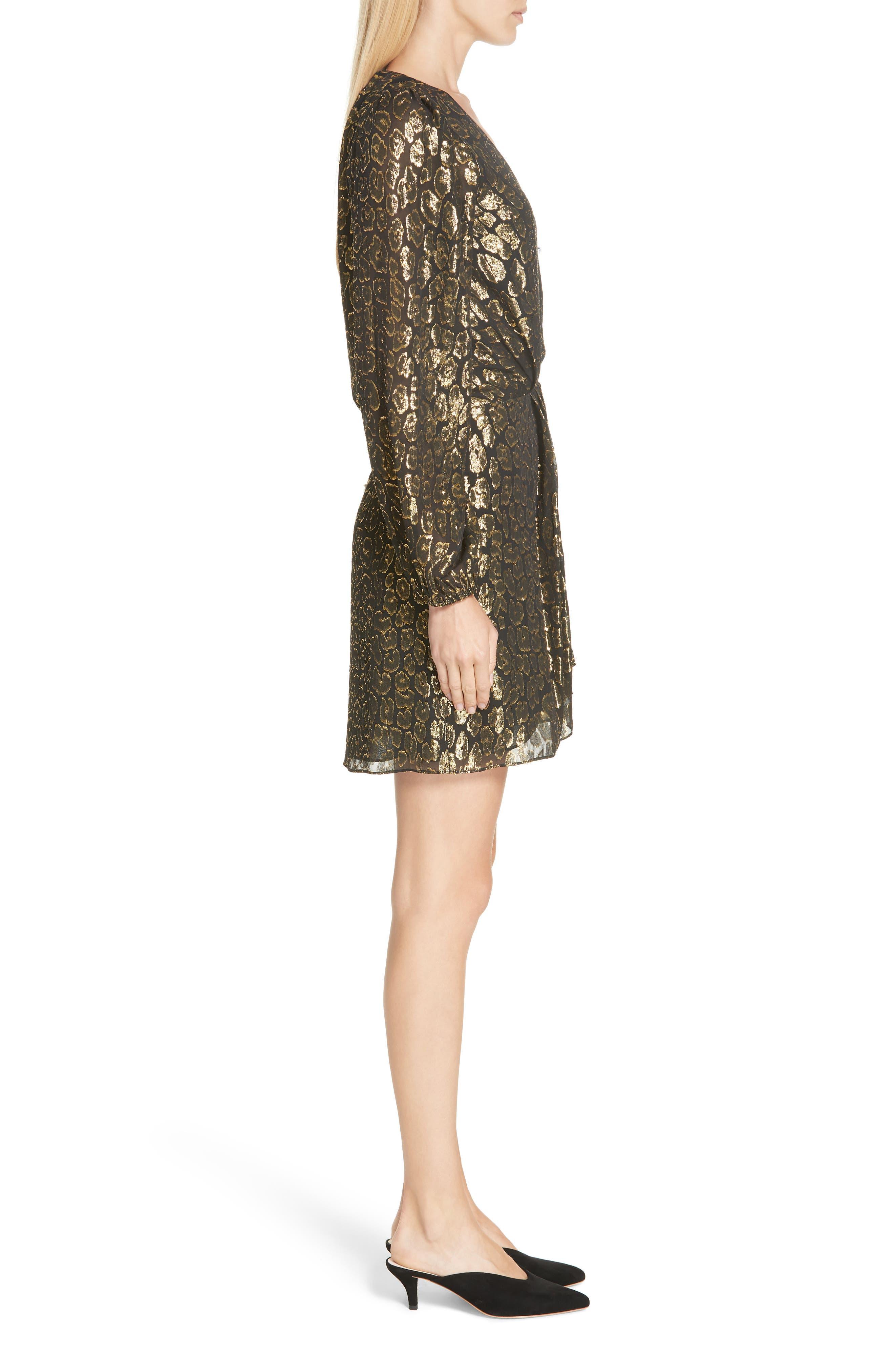 A.L.C.,                             Elsa Marina Leopard Fil Coupé Dress,                             Alternate thumbnail 4, color,                             001