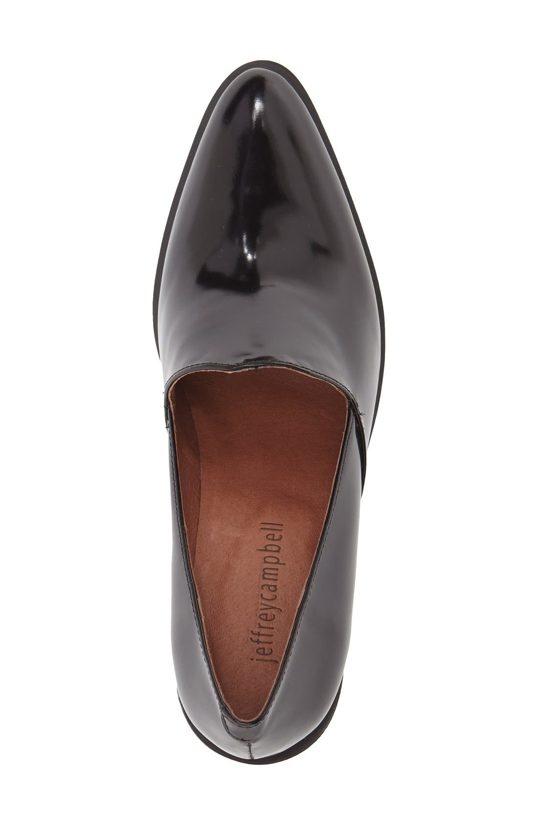 JEFFREY CAMPBELL,                             'Dante' Pointy Toe Loafer Pump,                             Alternate thumbnail 3, color,                             001