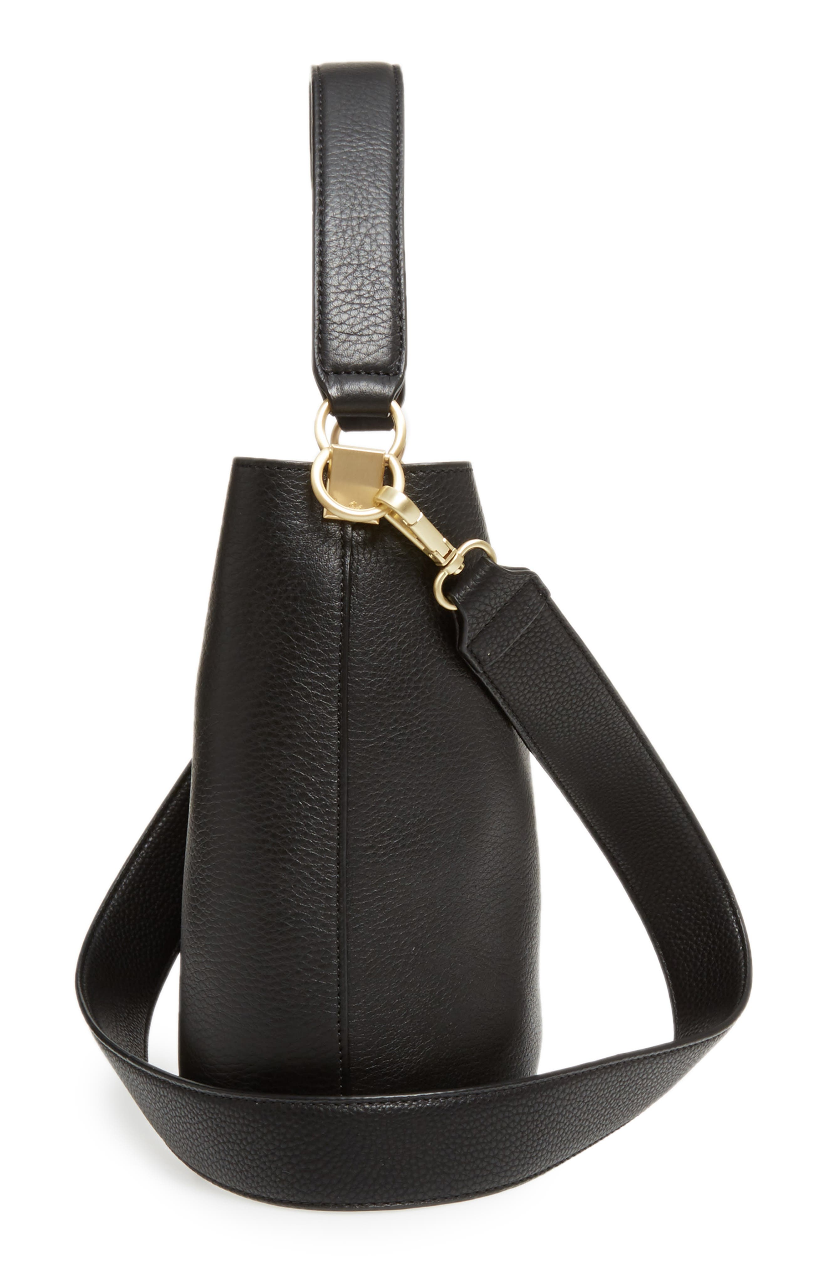 Small Nya Faux Leather Bucket Bag,                             Alternate thumbnail 5, color,                             001