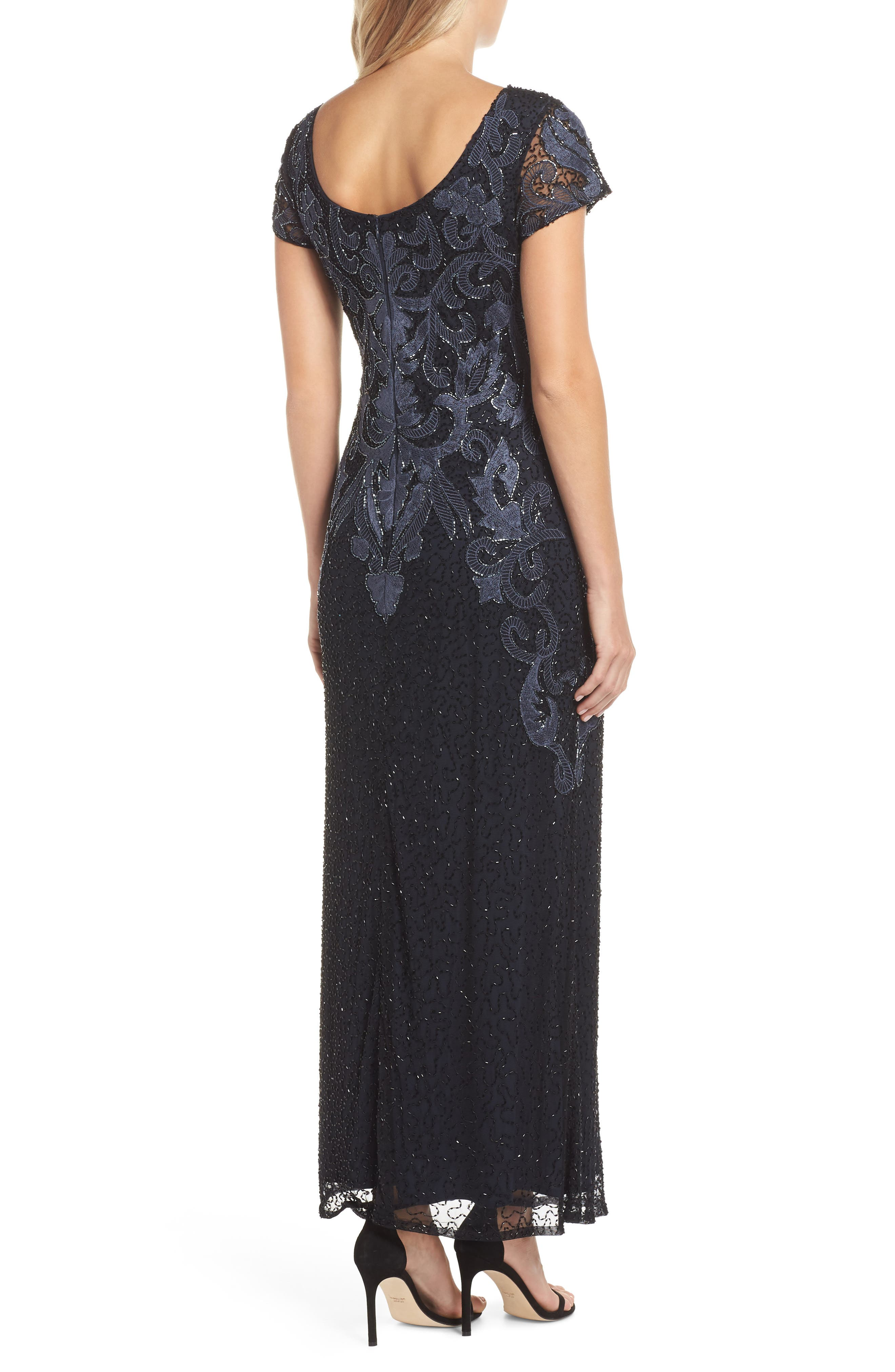 PISARRO NIGHTS,                             Embroidered Mesh Gown,                             Alternate thumbnail 3, color,                             001