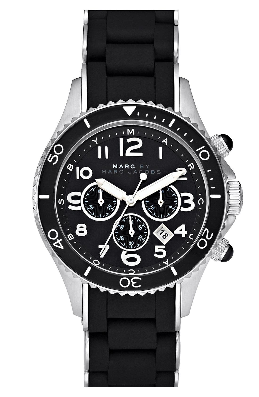 'Rock' Chronograph Silicone Bracelet Watch, 40mm,                             Main thumbnail 1, color,                             001