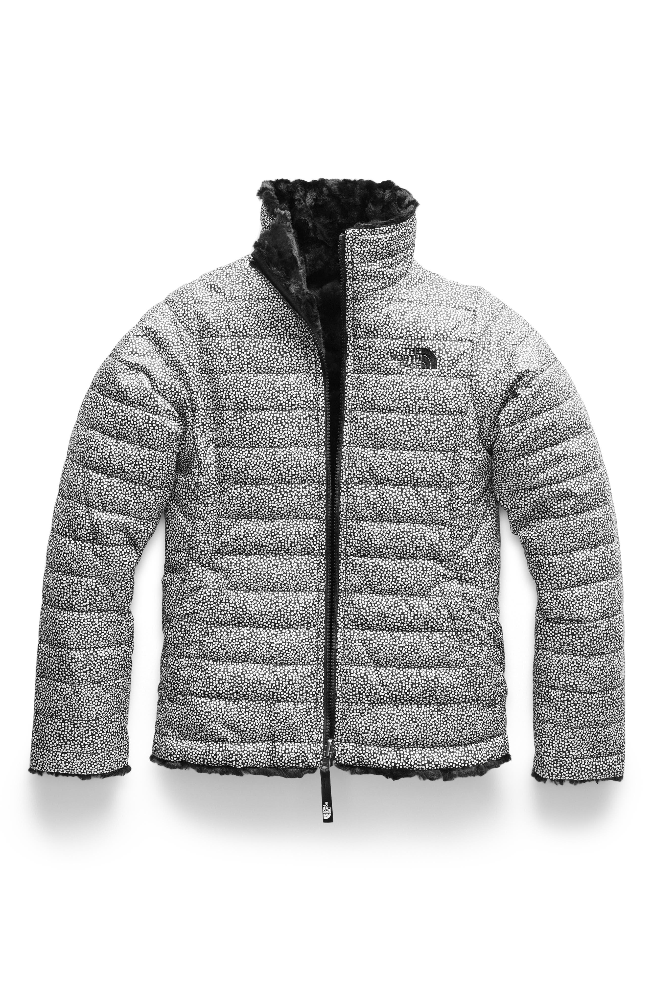 Mossbud Reversible Water Repellent Jacket,                         Main,                         color, TNF WHITE MINI DOT PRINT
