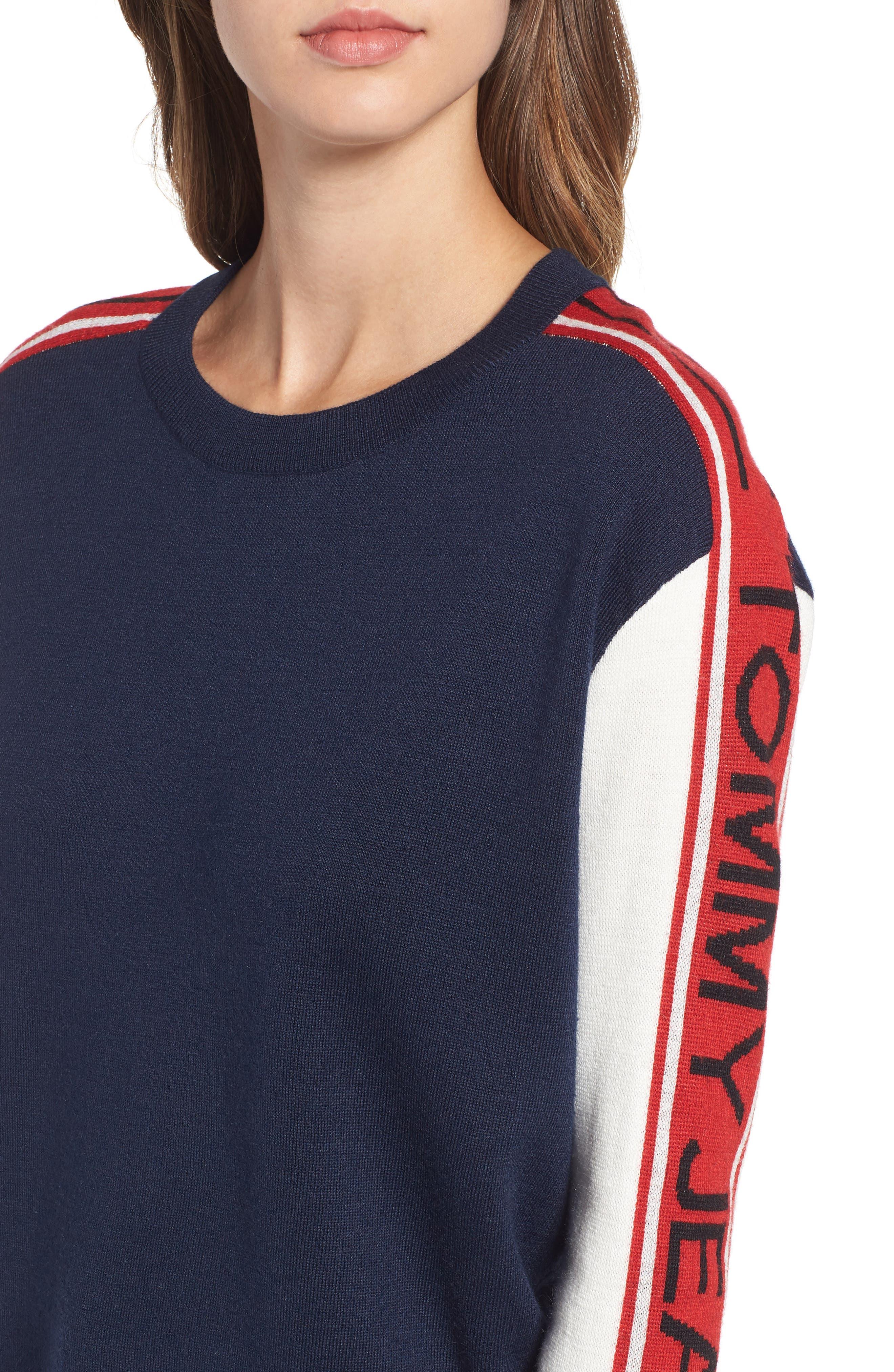 TJW Colorblock Sweater,                             Alternate thumbnail 4, color,                             BLUE