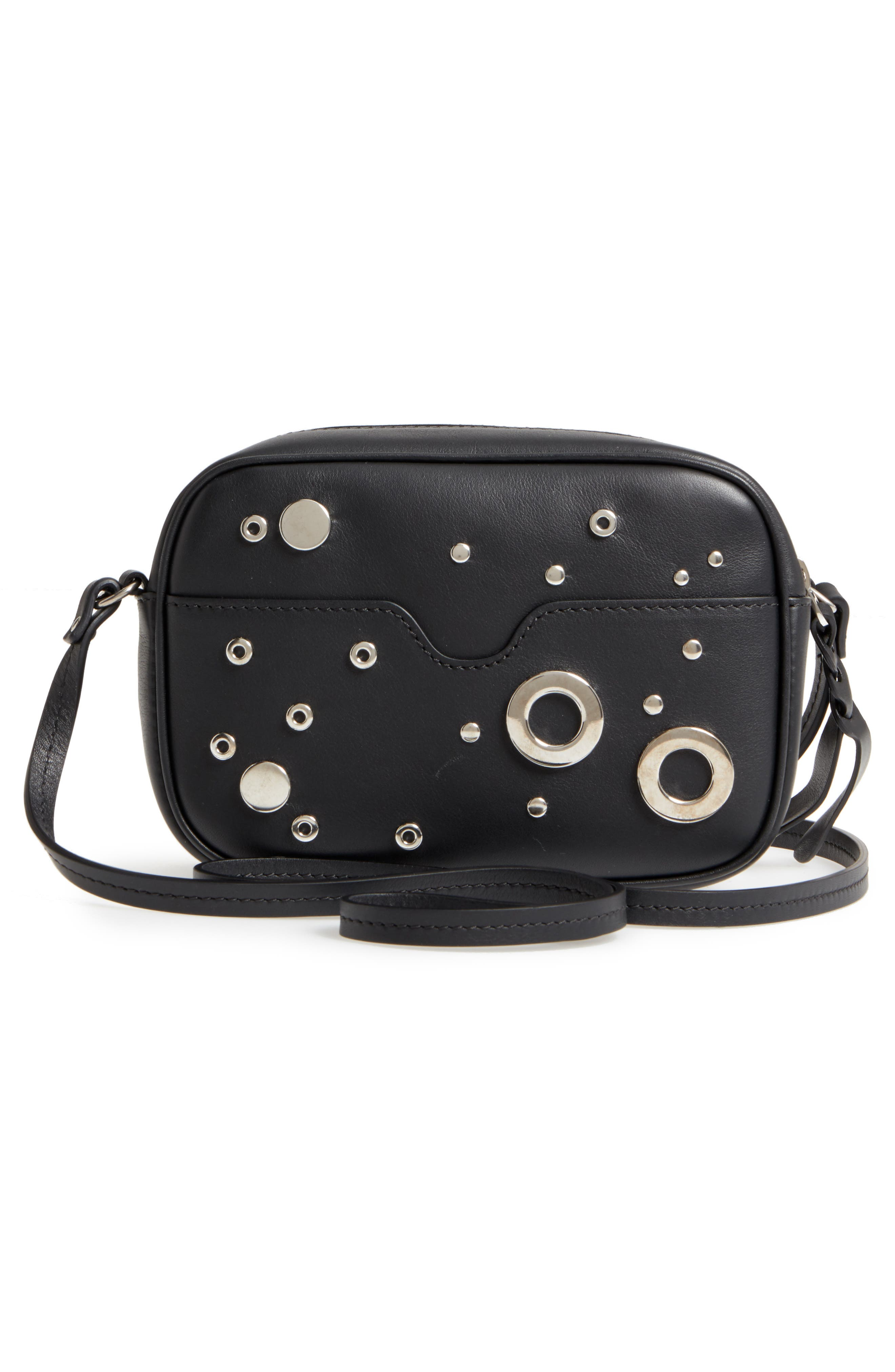 Small Leather Camera Bag,                             Alternate thumbnail 3, color,                             001