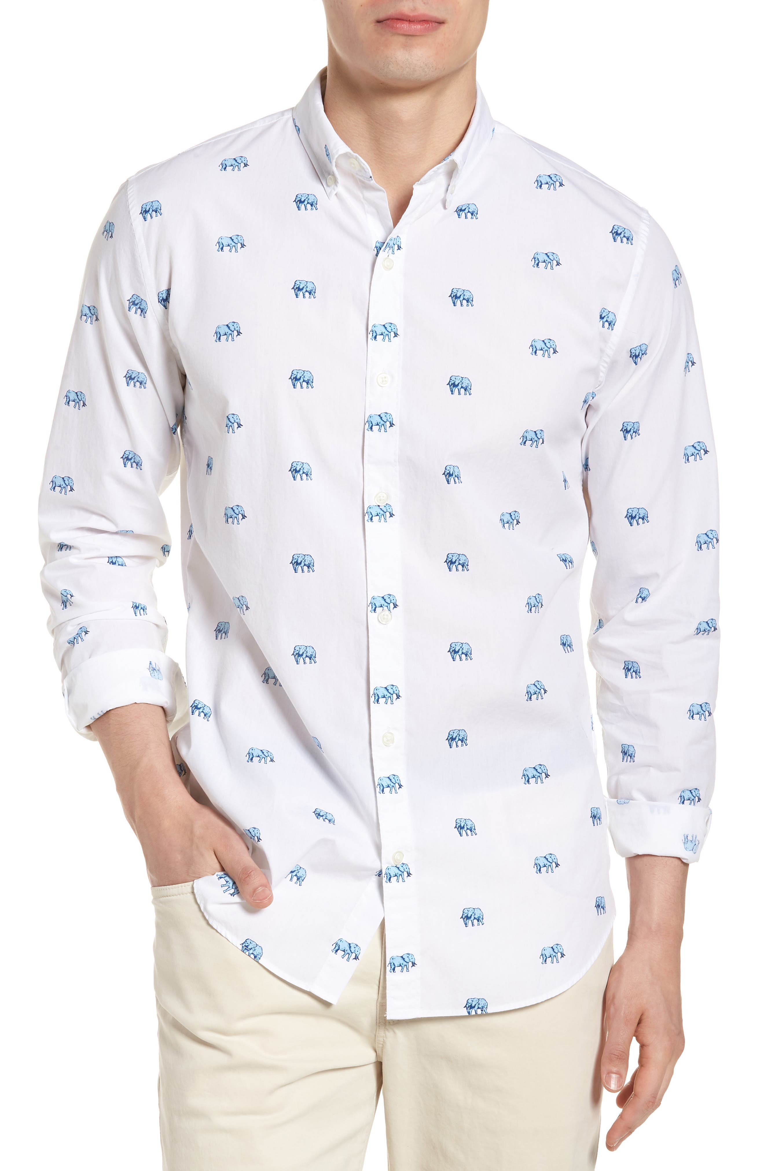 Slim Fit Washed Elephant Sport Shirt,                         Main,                         color, 100