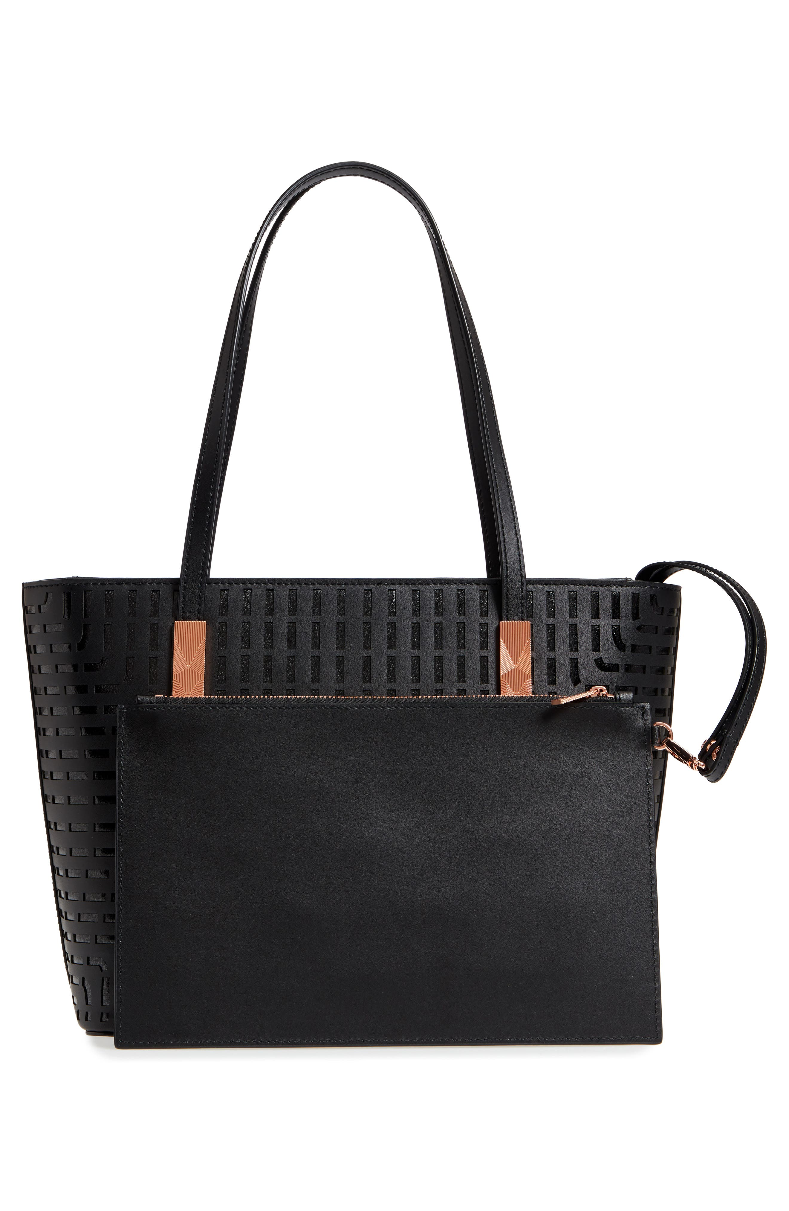 Breanna Perforated Bow Leather Shopper,                             Alternate thumbnail 3, color,                             001