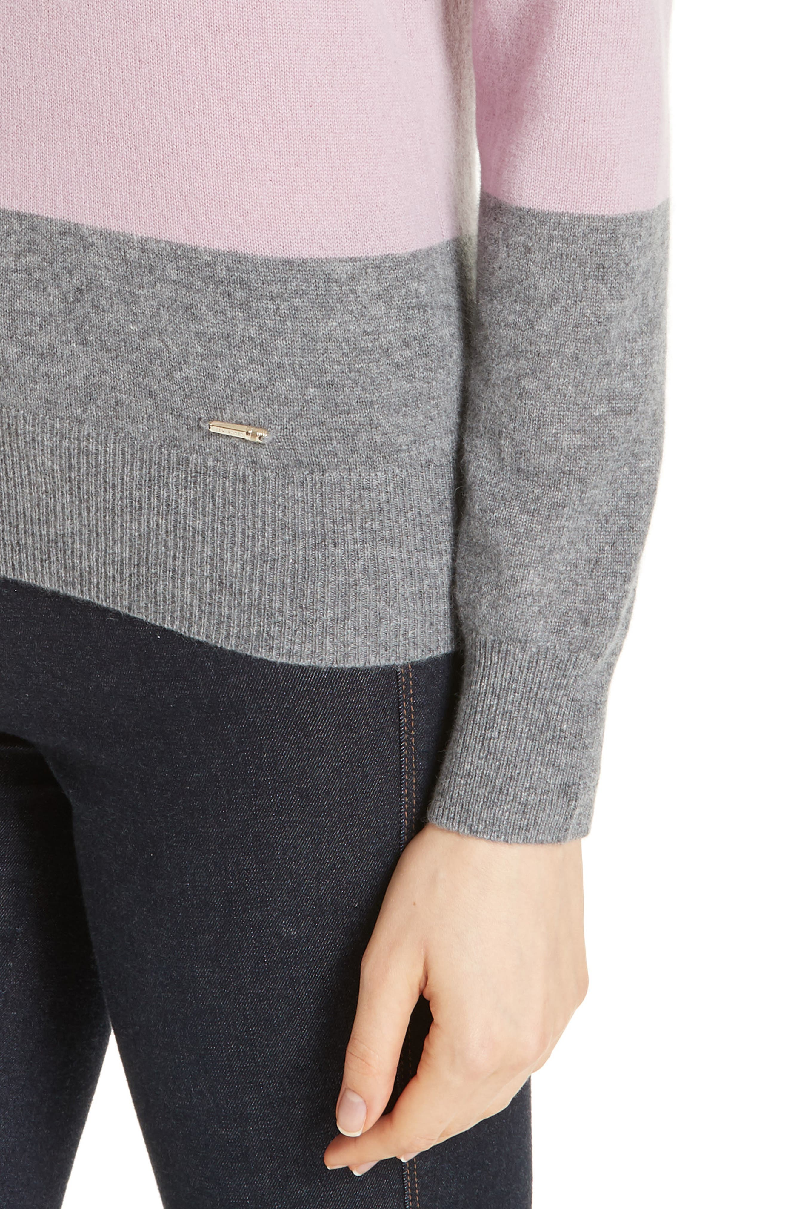 Colour by Numbers Bryonny Colorblock Cashmere Sweater,                             Alternate thumbnail 4, color,                             GREY MARL