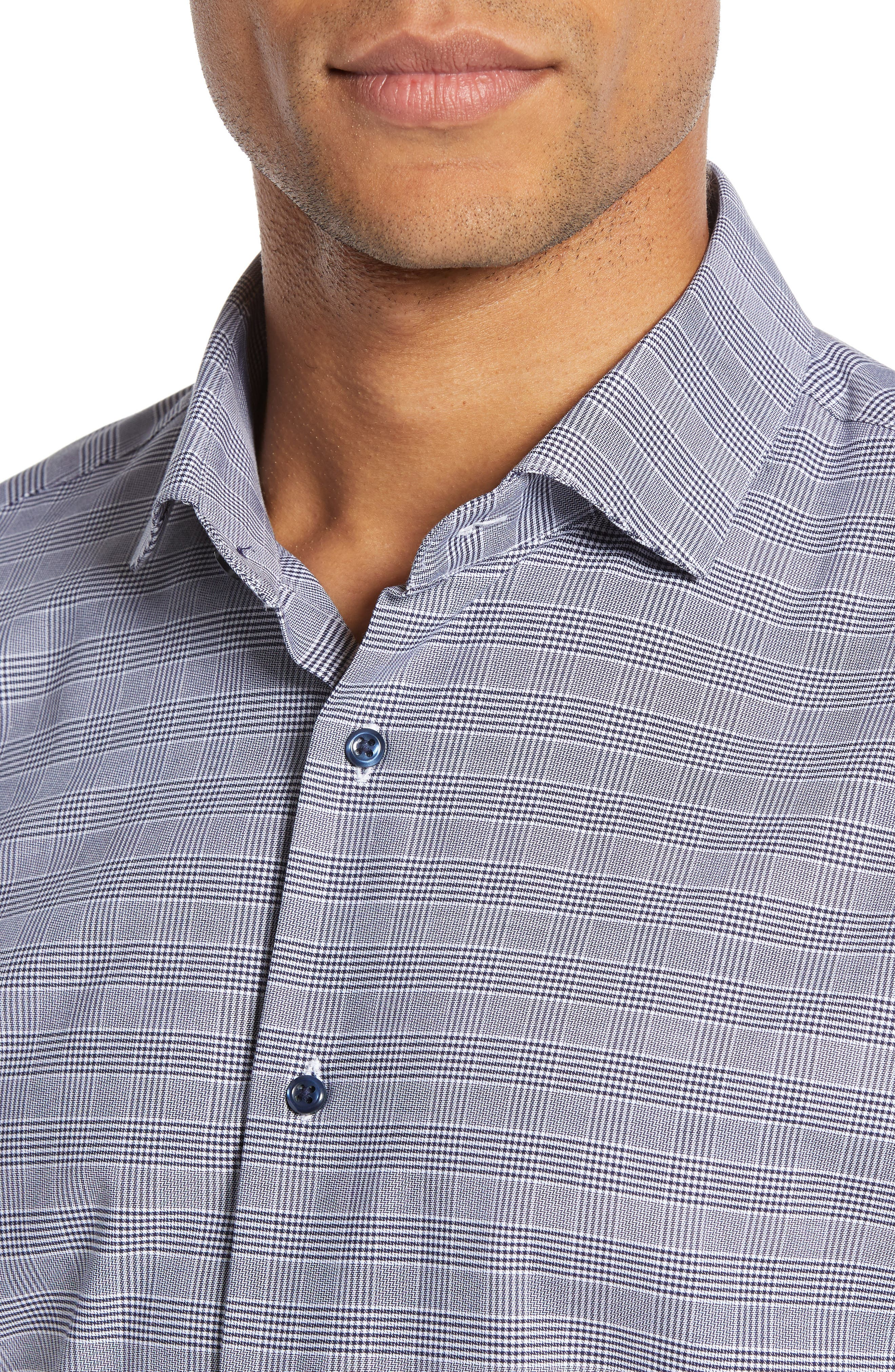 Tech-Smart Trim Fit Stretch Plaid Dress Shirt,                             Alternate thumbnail 2, color,                             NAVY PEACOAT