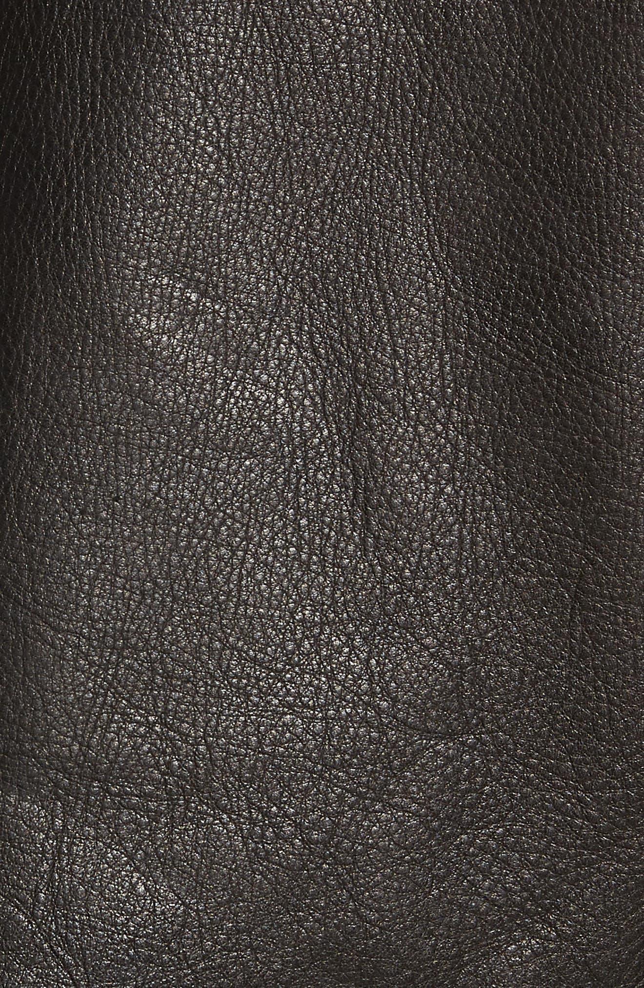 Orlando Leather Racer Coat,                             Alternate thumbnail 6, color,                             BLACK