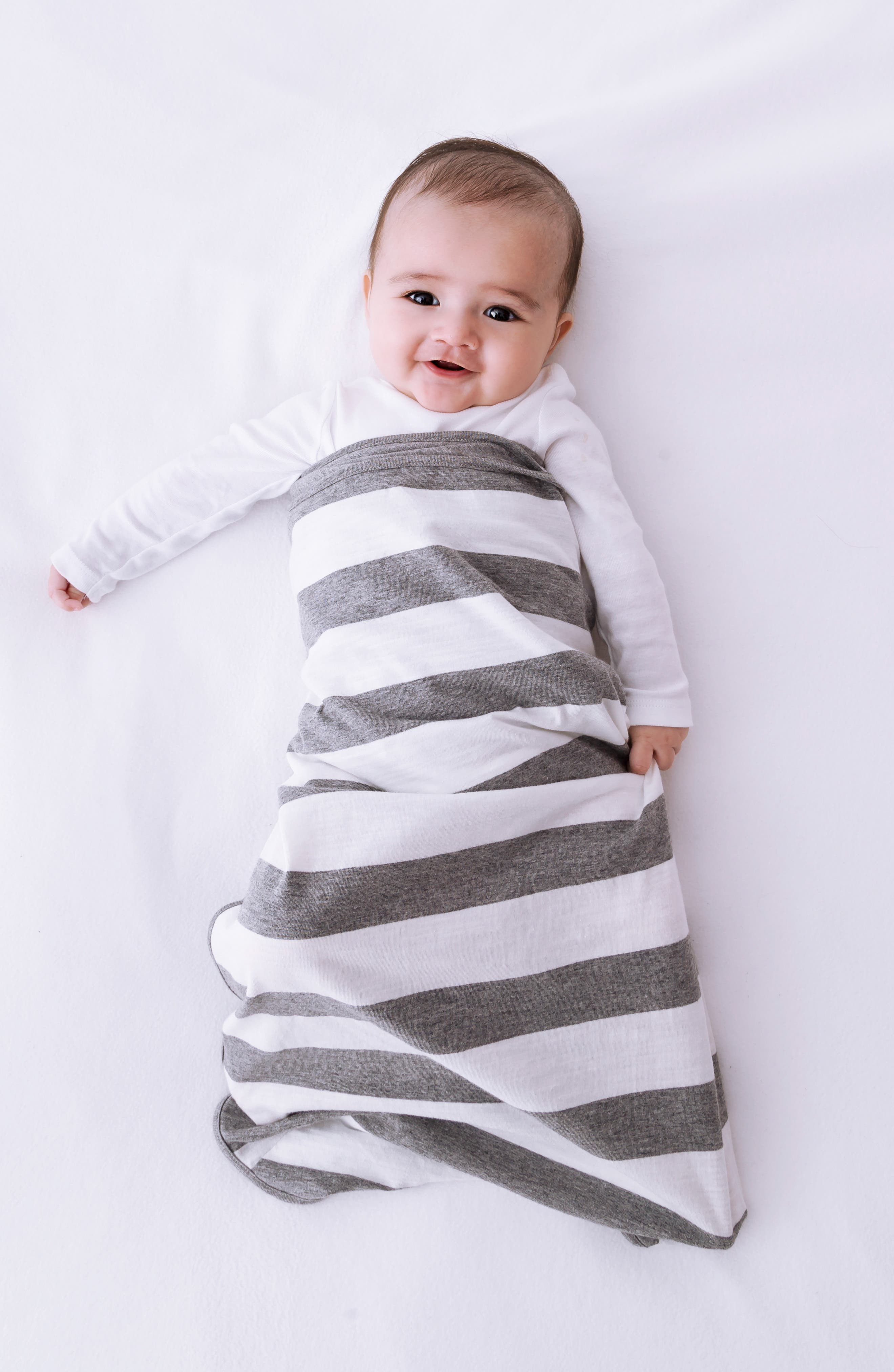 Stripe Wearable Swaddle,                             Alternate thumbnail 3, color,                             GREY/ WHITE STRIPE