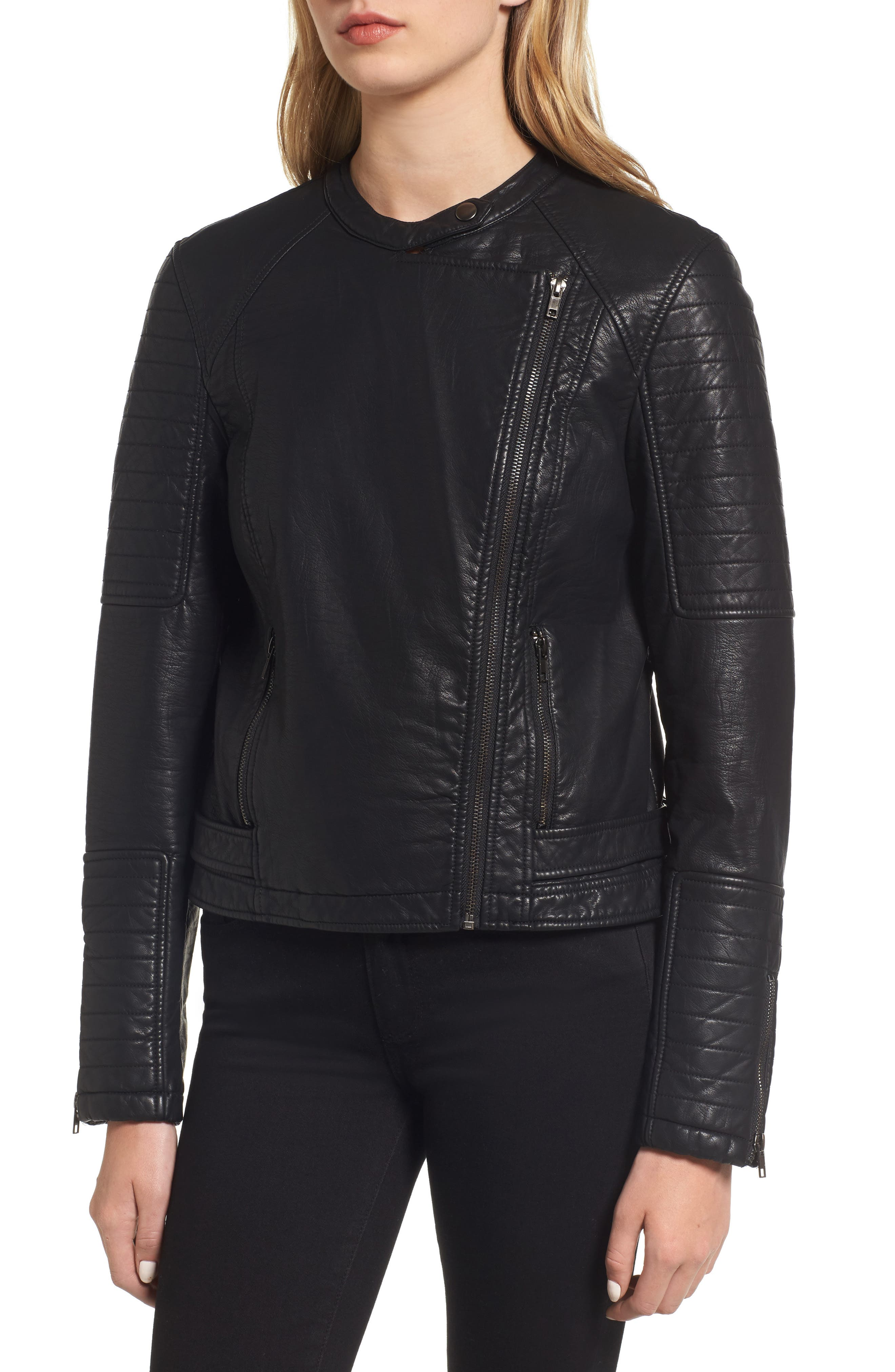 Ezmerelda Faux Leather Moto Jacket,                             Alternate thumbnail 4, color,                             001