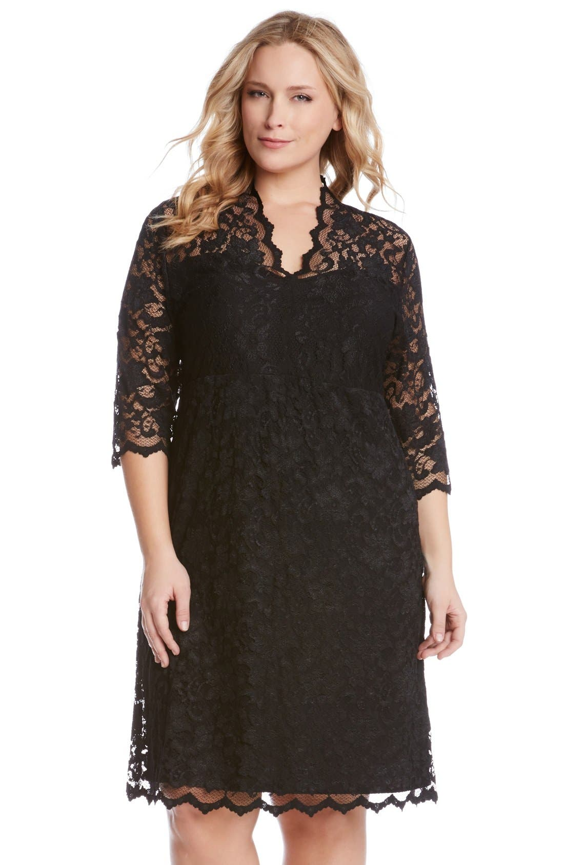 Scalloped Stretch Lace Dress,                             Alternate thumbnail 4, color,                             BLACK